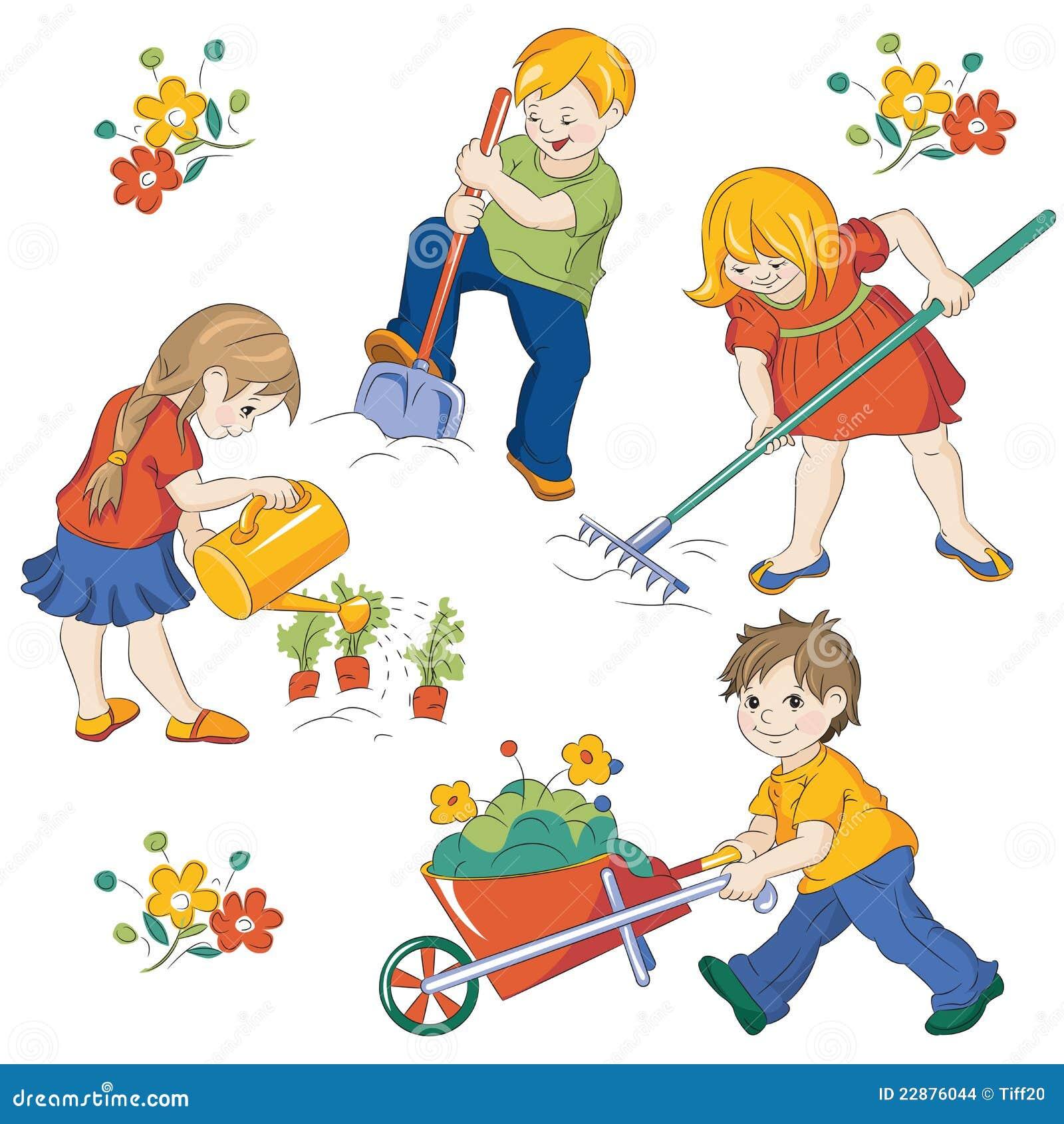 Vegetable garden stock vector. Illustration of people ...