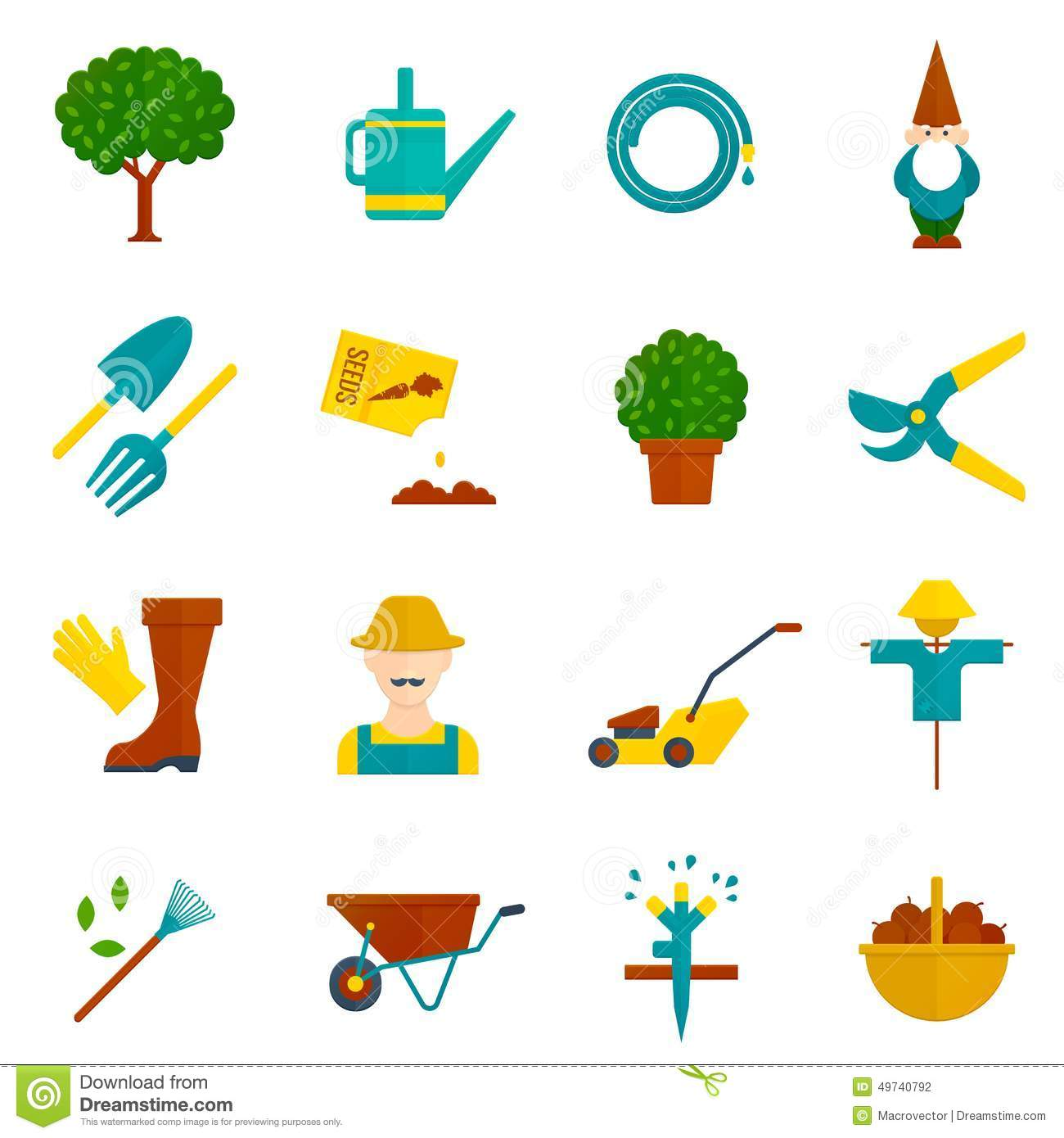 Vegetable Garden Flat Icons Set Stock Vector Image 49740792