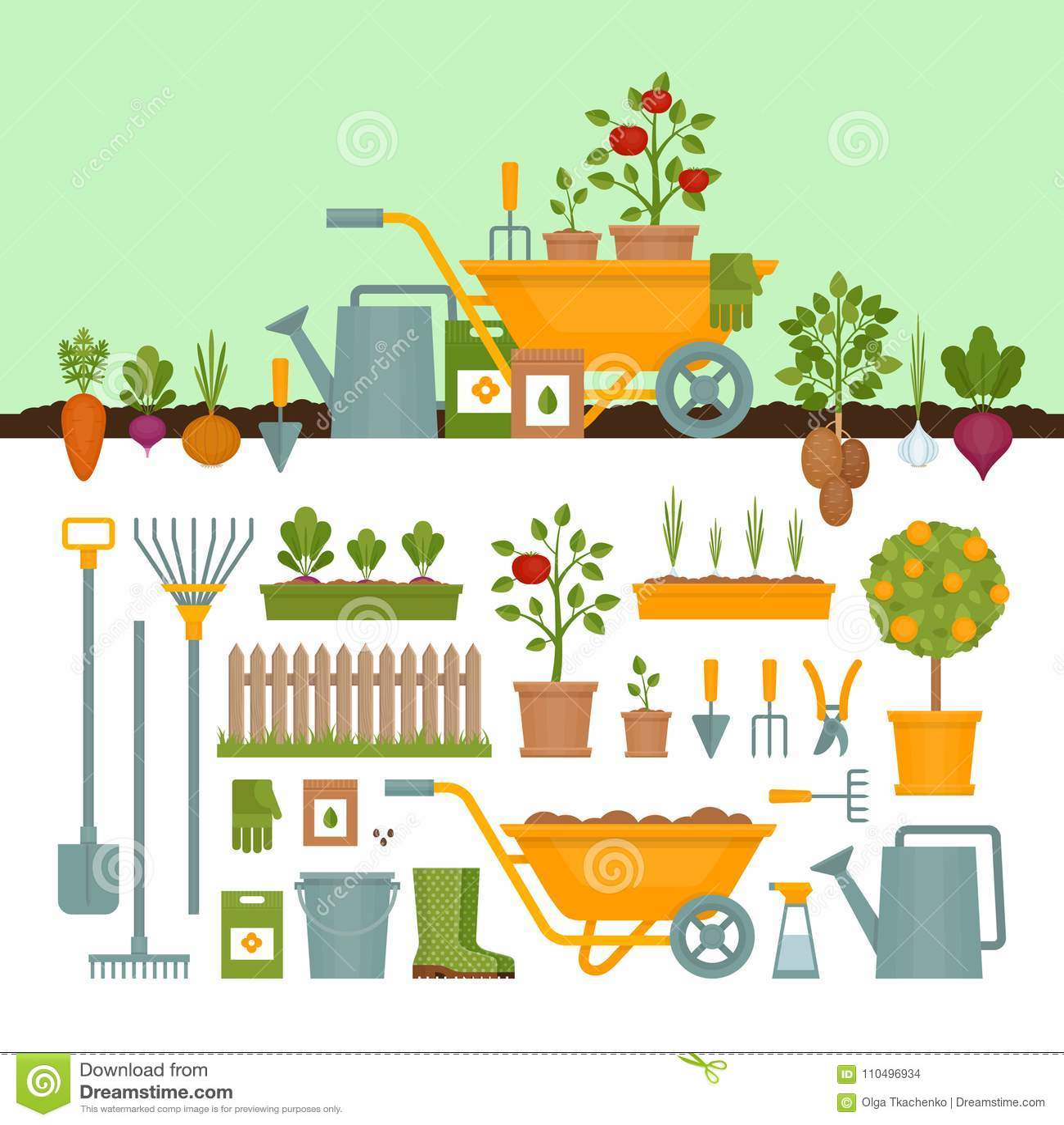 Vegetable Garden Garden Tools Banner With Vegetable Garden Fl