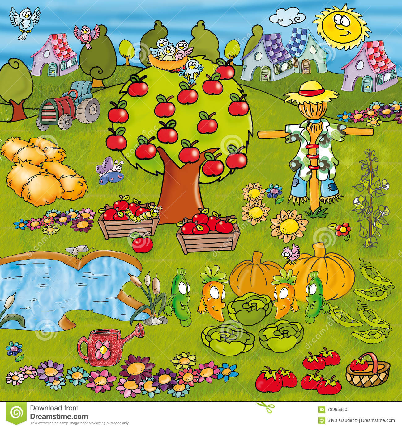 Vegetable garden cartoon - Vegetable Garden With Vegetables And Flowers Trees Lakes Watering And Many Elements And Animals Funny Cartoon