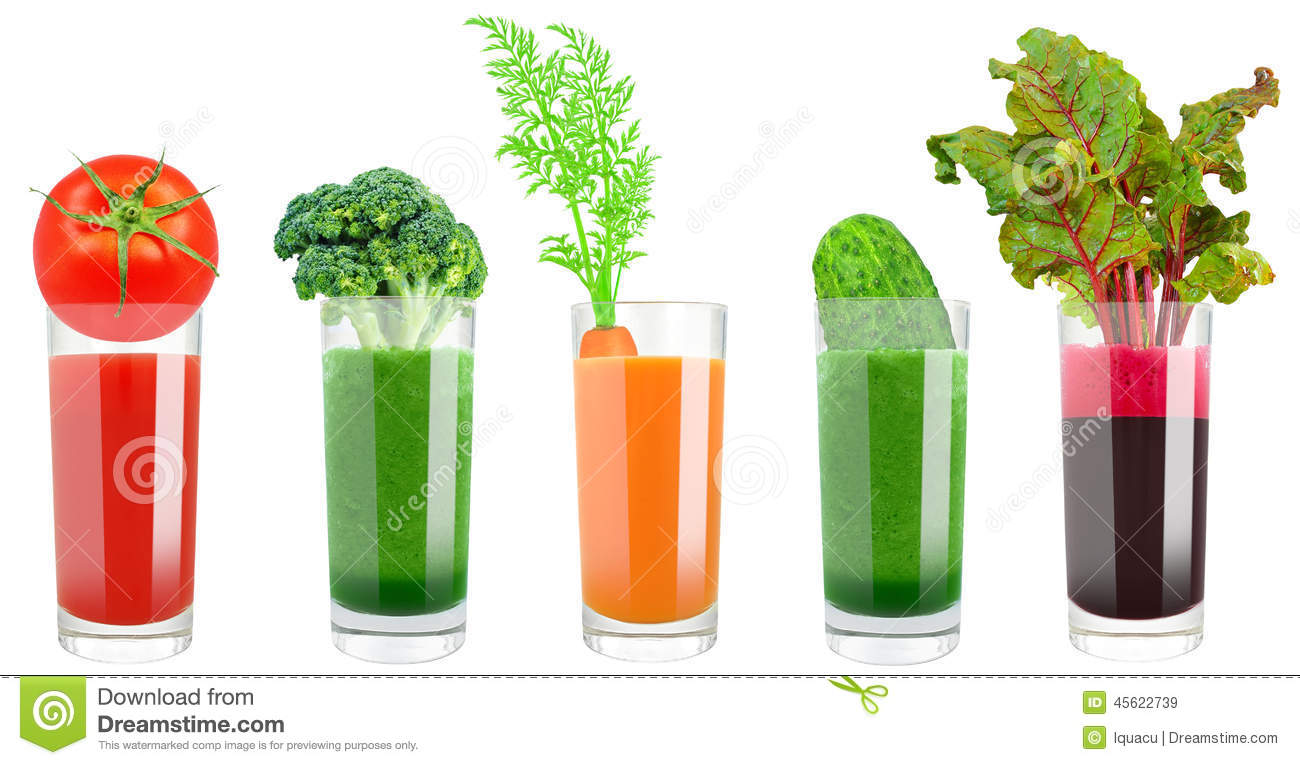 Vegetable juice in a glass on a white background.