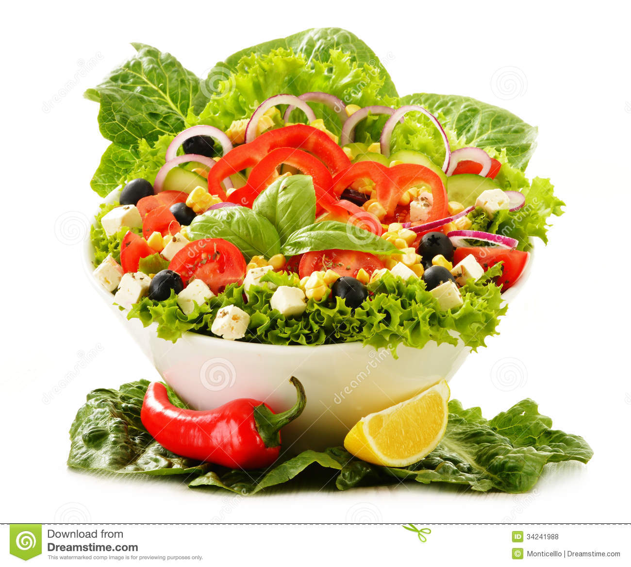 Vegetable Salad Bowl On White Royalty Free Stock Photos ...