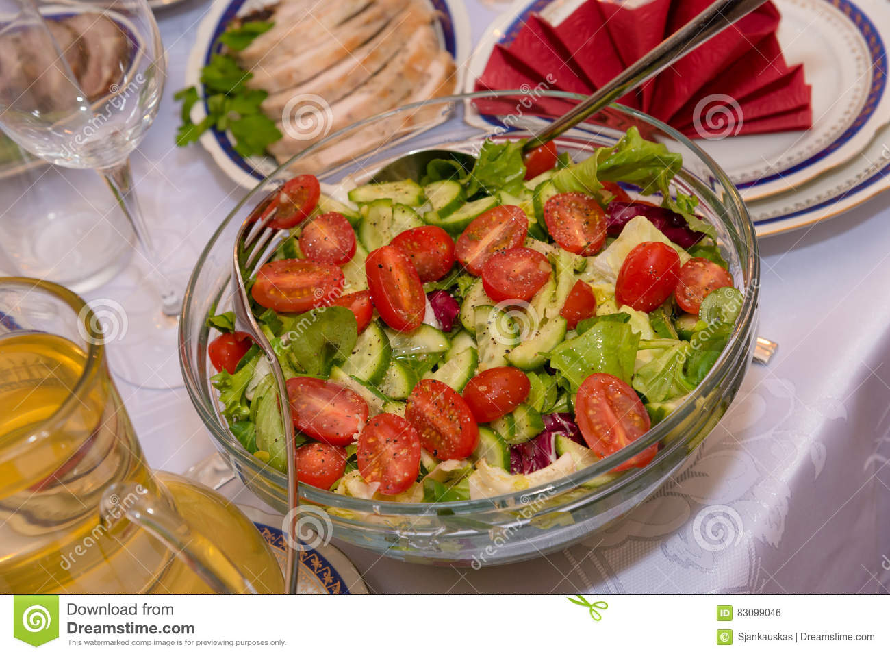 Vegetable salad party table