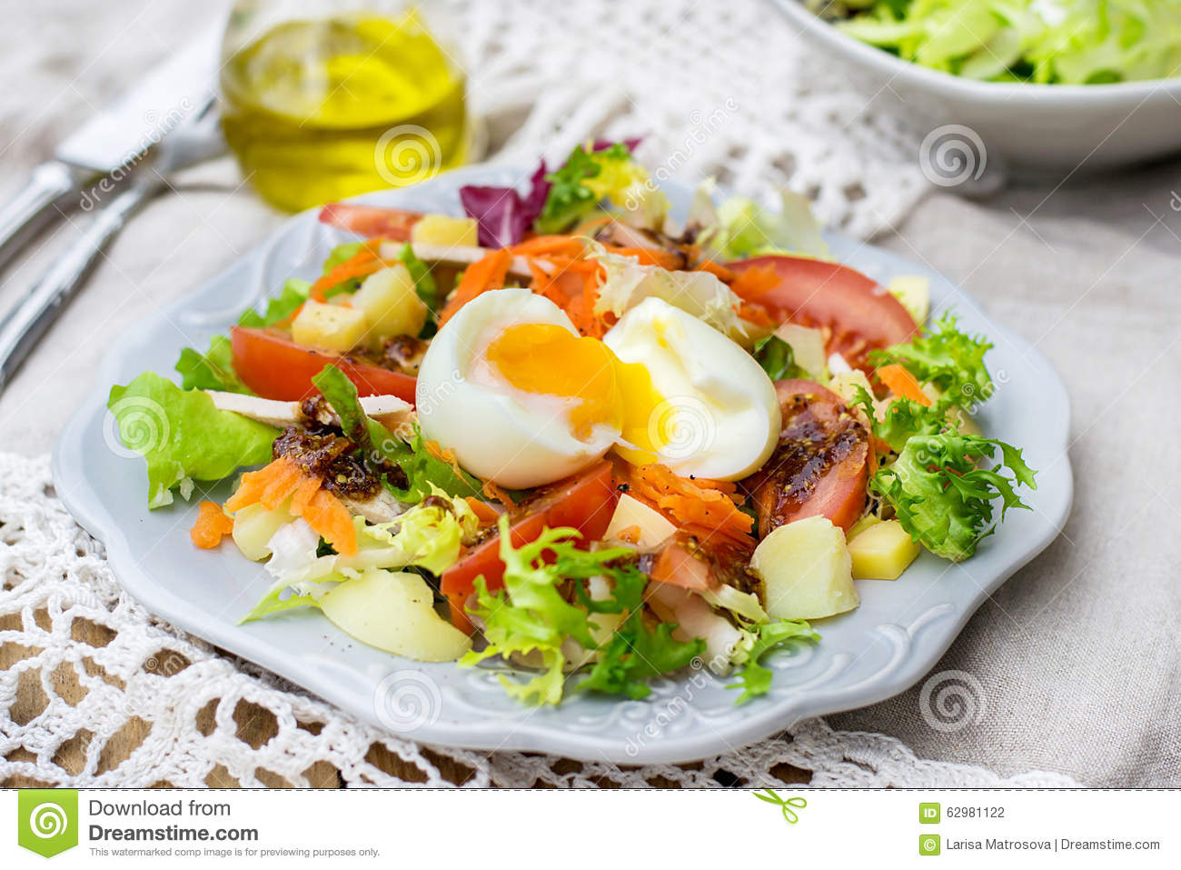 Vegetable Salad With Soft-boiled Egg Stock Photo - Image ...