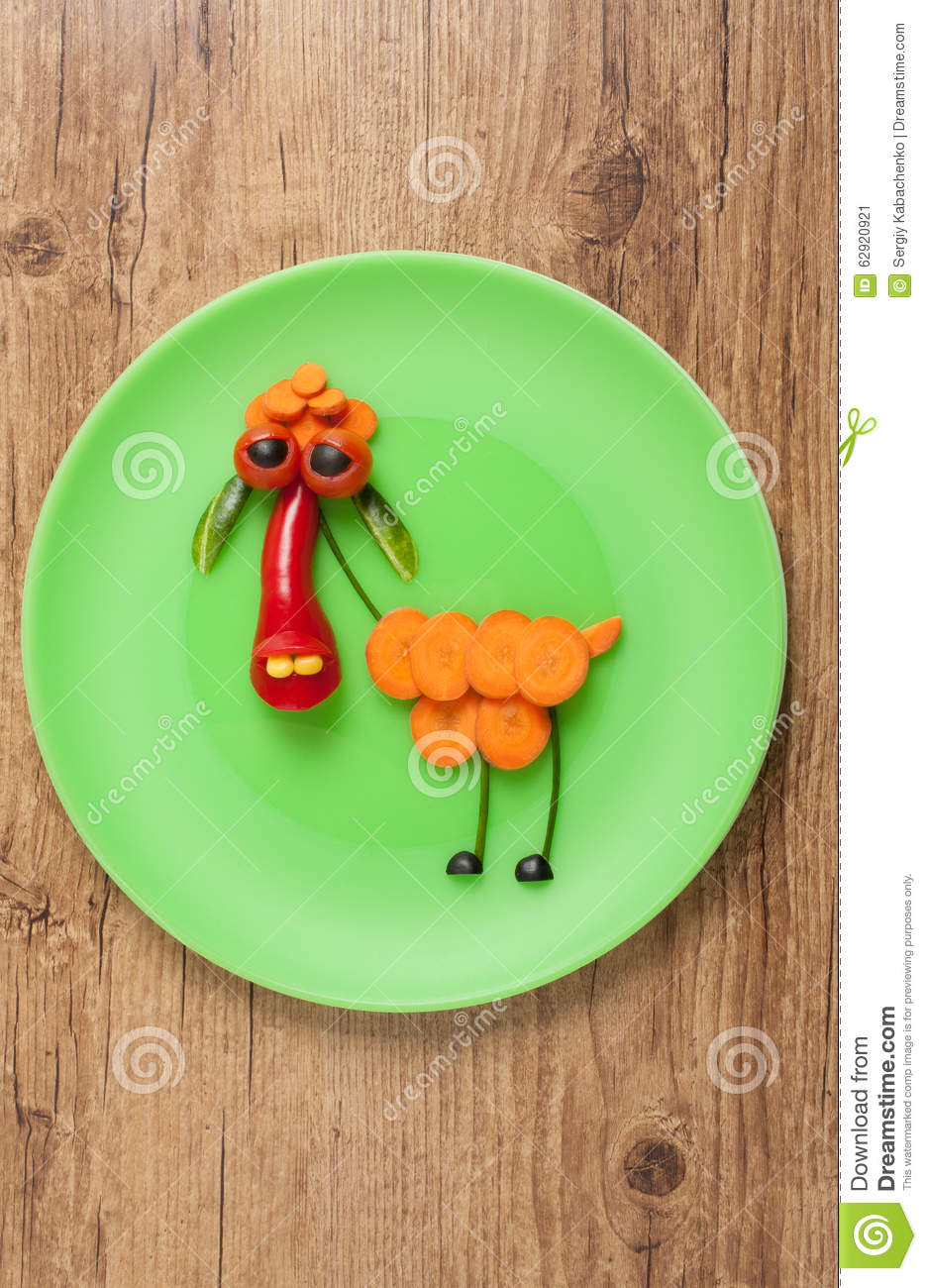 Vegetable sheep on green plate