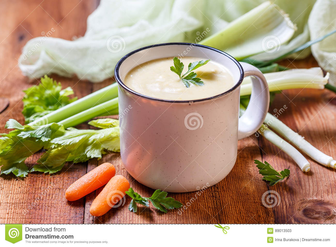 Vegetable soup puree in a mug