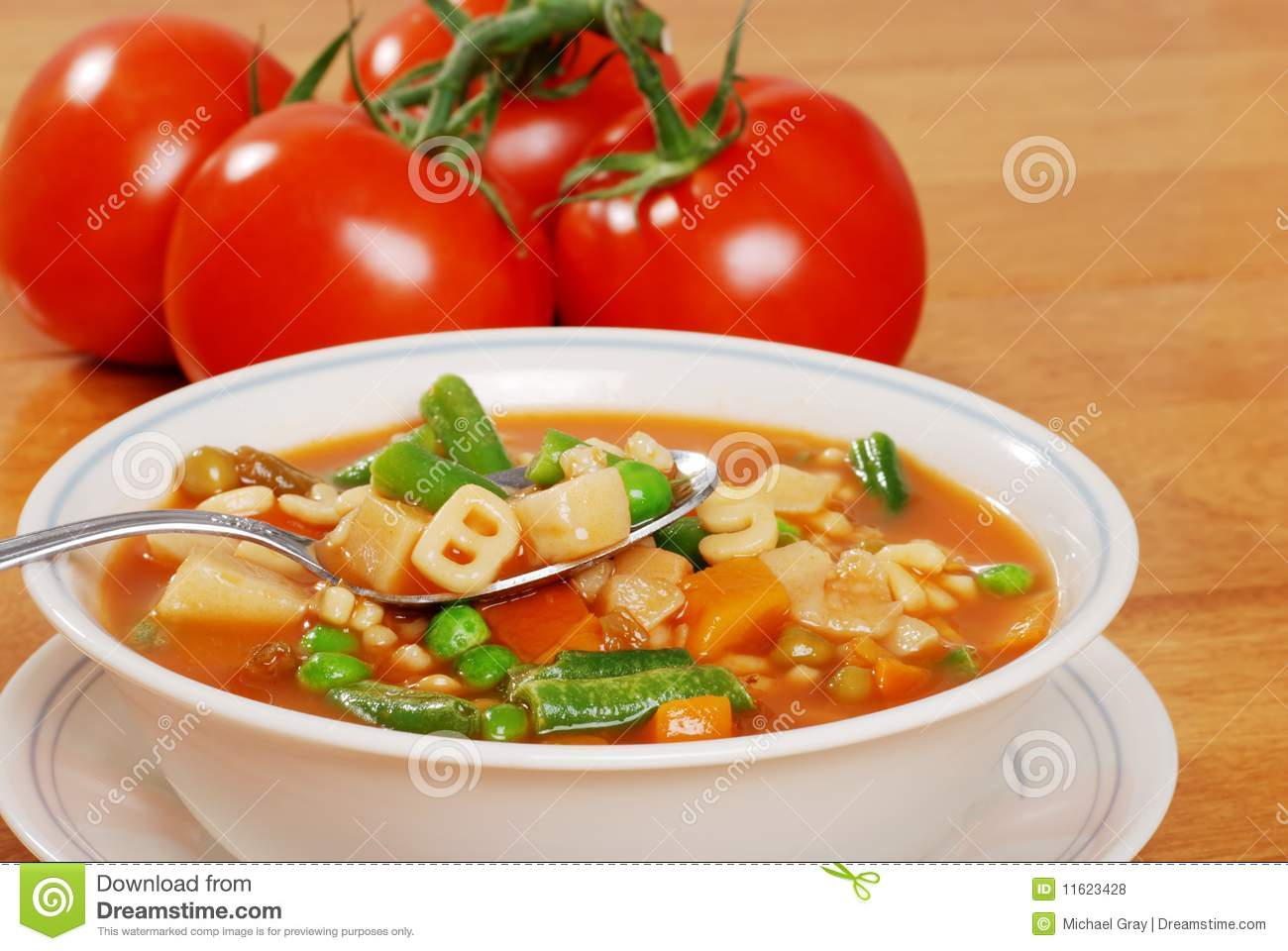 Vegetable Soup With Tomato In The Background Royalty Free Stock Photos ...