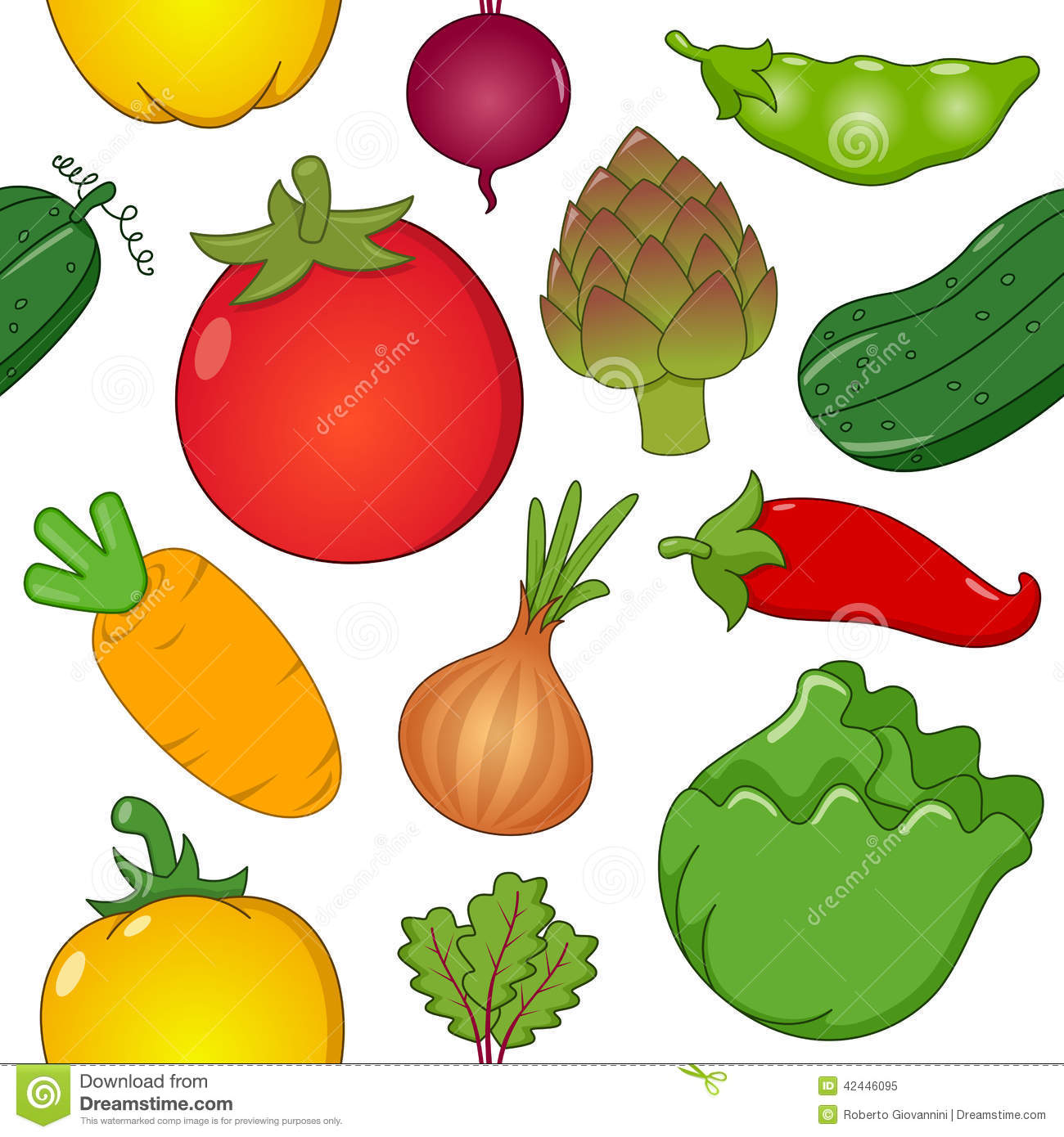 vegetable symbols seamless pattern stock vector image