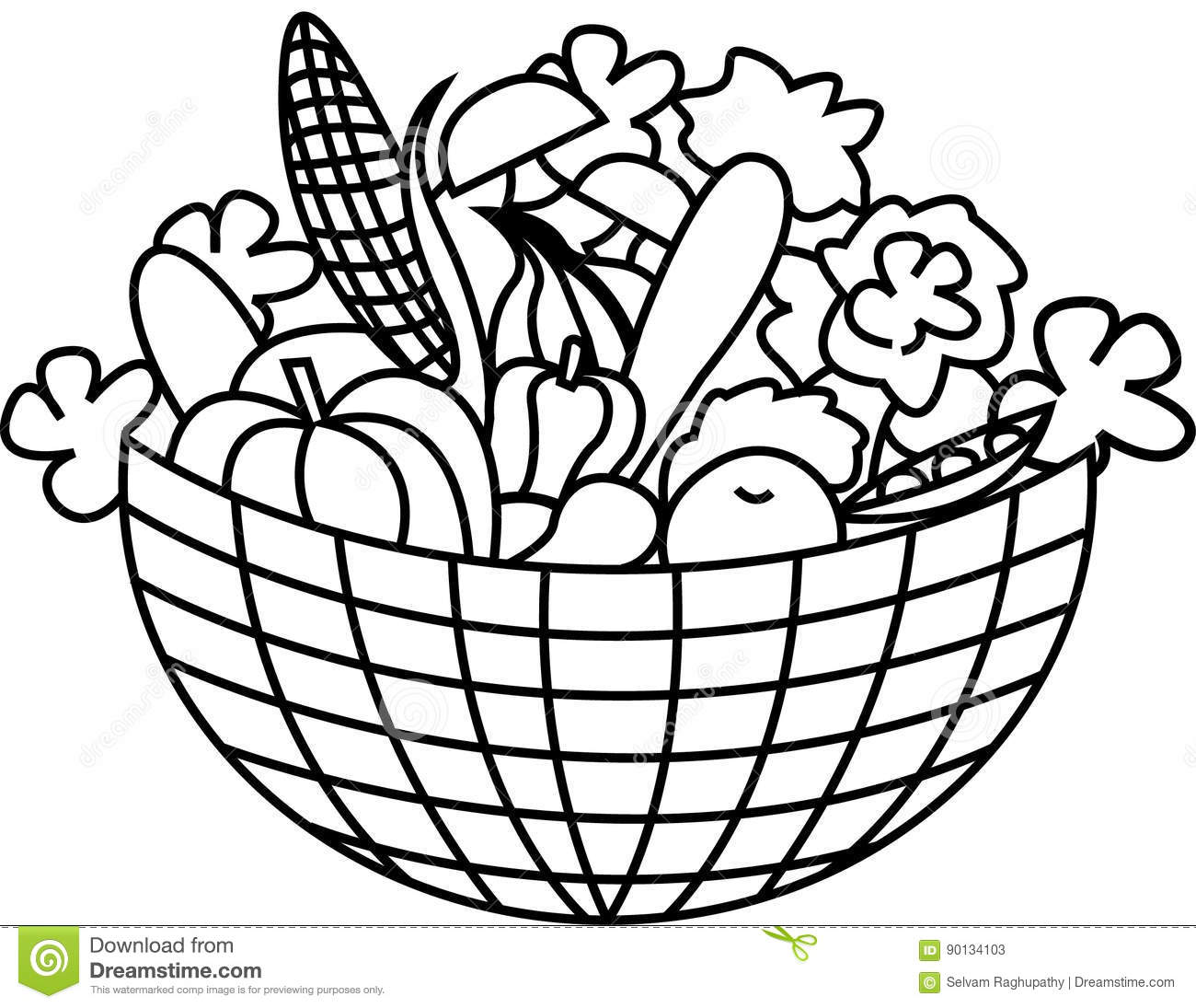 Clip Art Basket Black And White : Vegetables in a basket stock vector image of gourmet