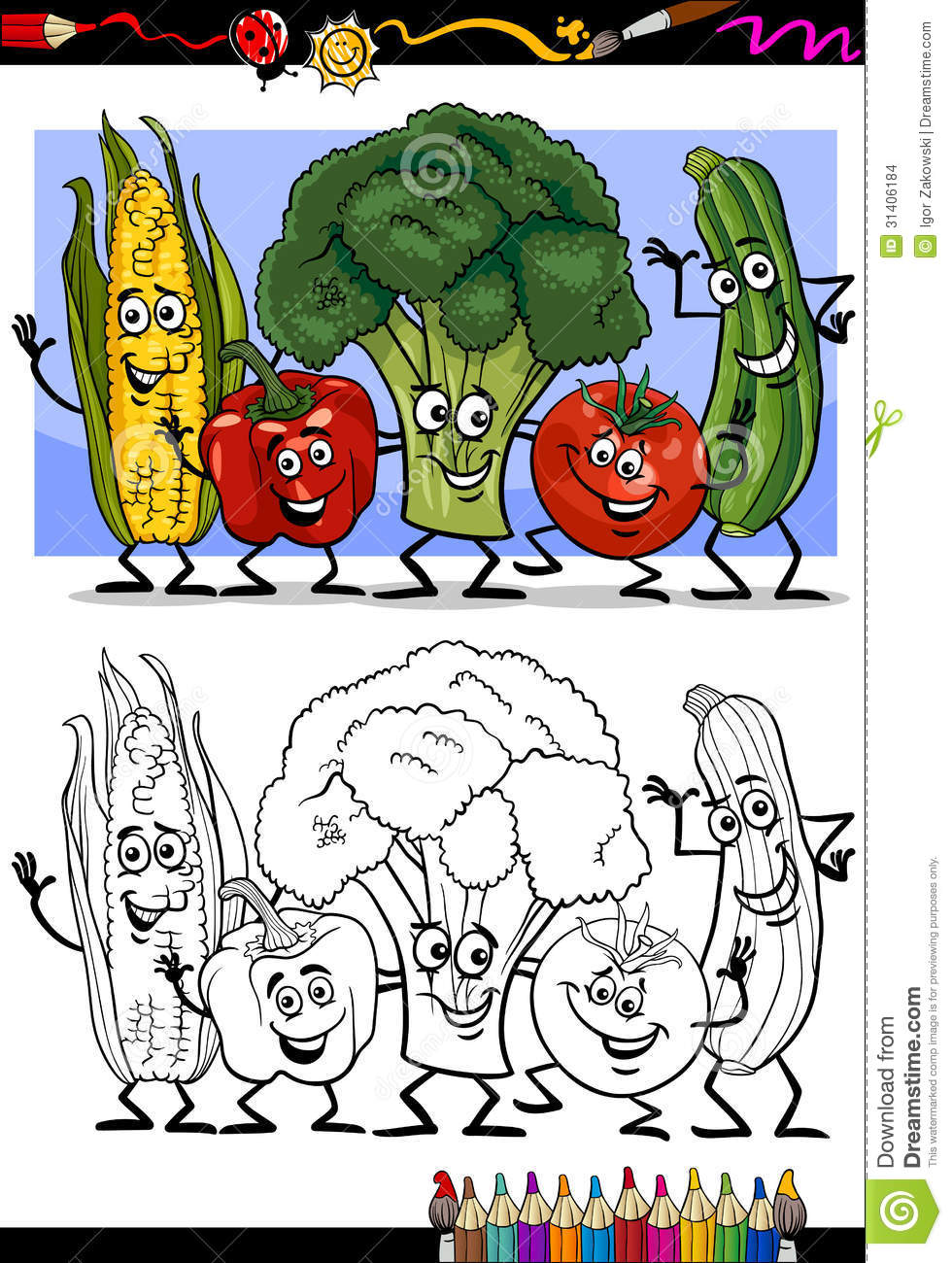 Vegetables Comic Group For Coloring Book Stock Vector