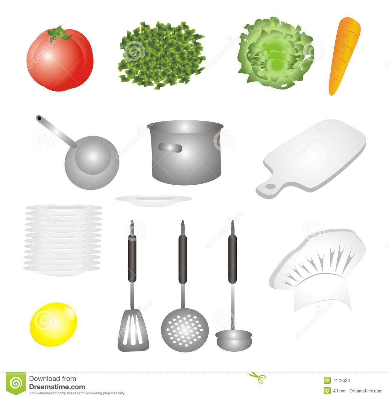 Stock Images Vegetables And Dishes Set Icons