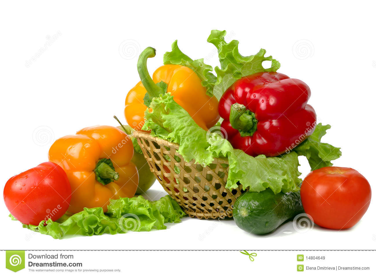 Vegetables And Fruits In A Basket Royalty Free Stock ...