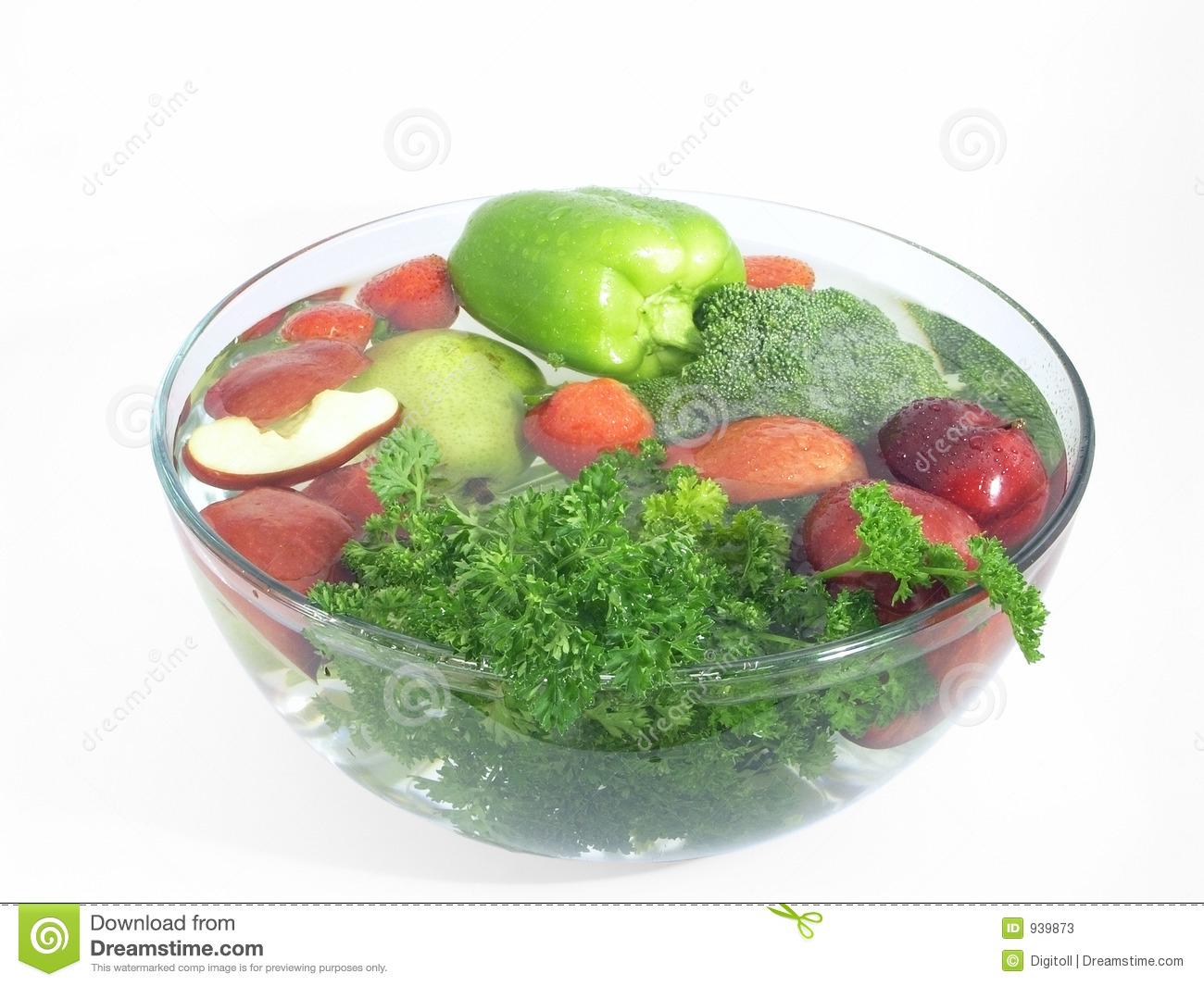 Vegetables And Fruits In A Clear Bowl 2 Of 5 Stock Image