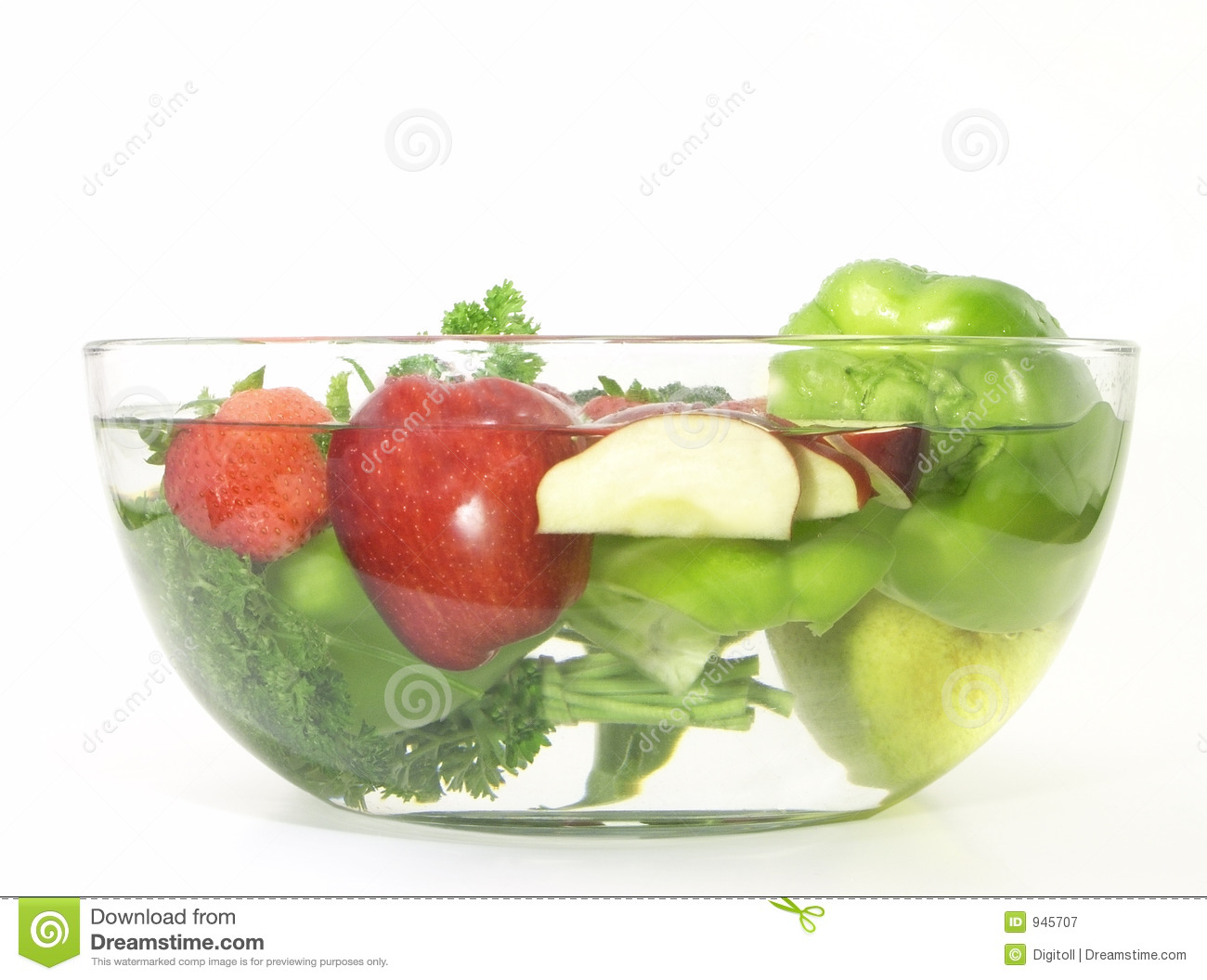 Vegetables And Fruits In A Clear Bowl 3 Of 5 Stock Image