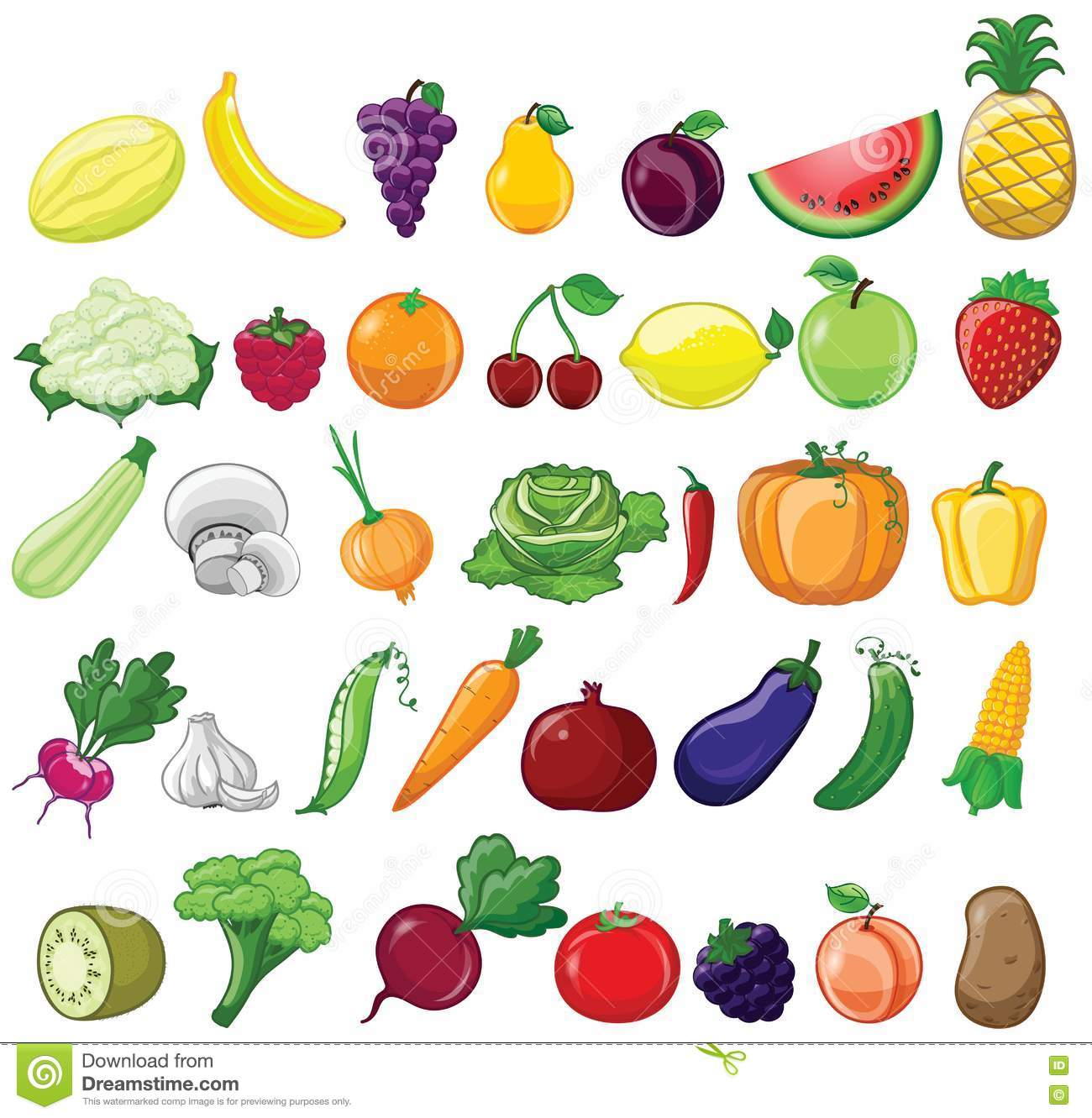 Vegetables And Fruits Icons Stock Vector Illustration Of