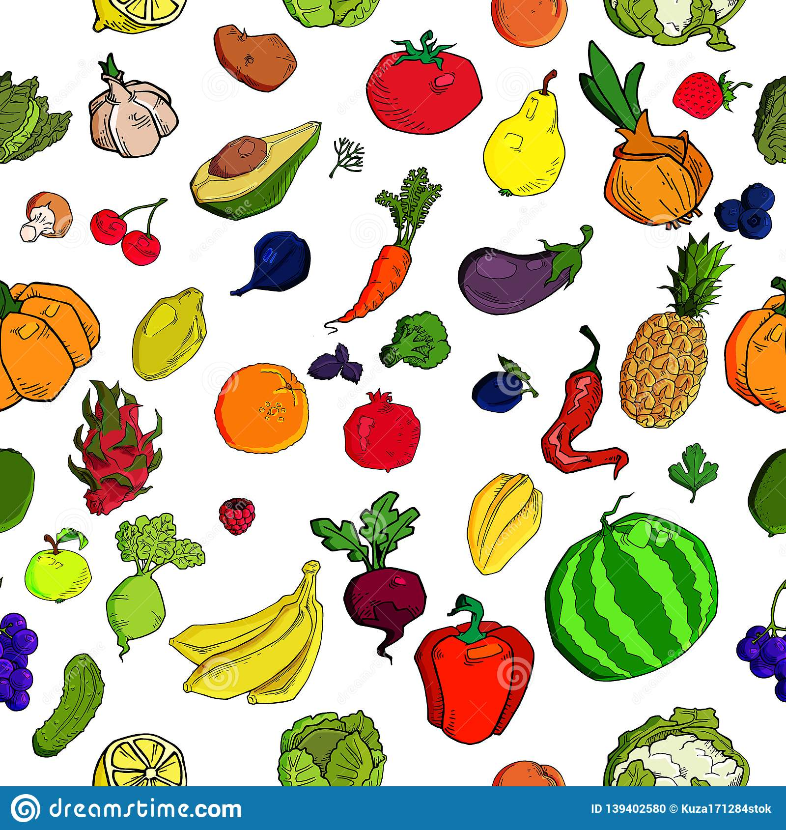 Vegetables And Fruits Seamless Pattern Background ...