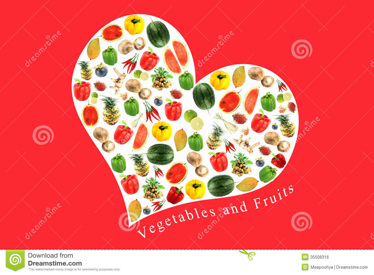 Vegetables And Fruits In White Heart On RED Background. Royalty Free ...