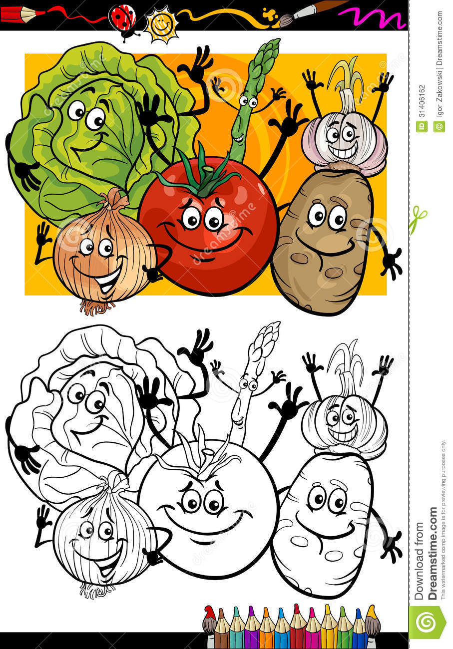 Vegetables Group Cartoon For Coloring Book Stock