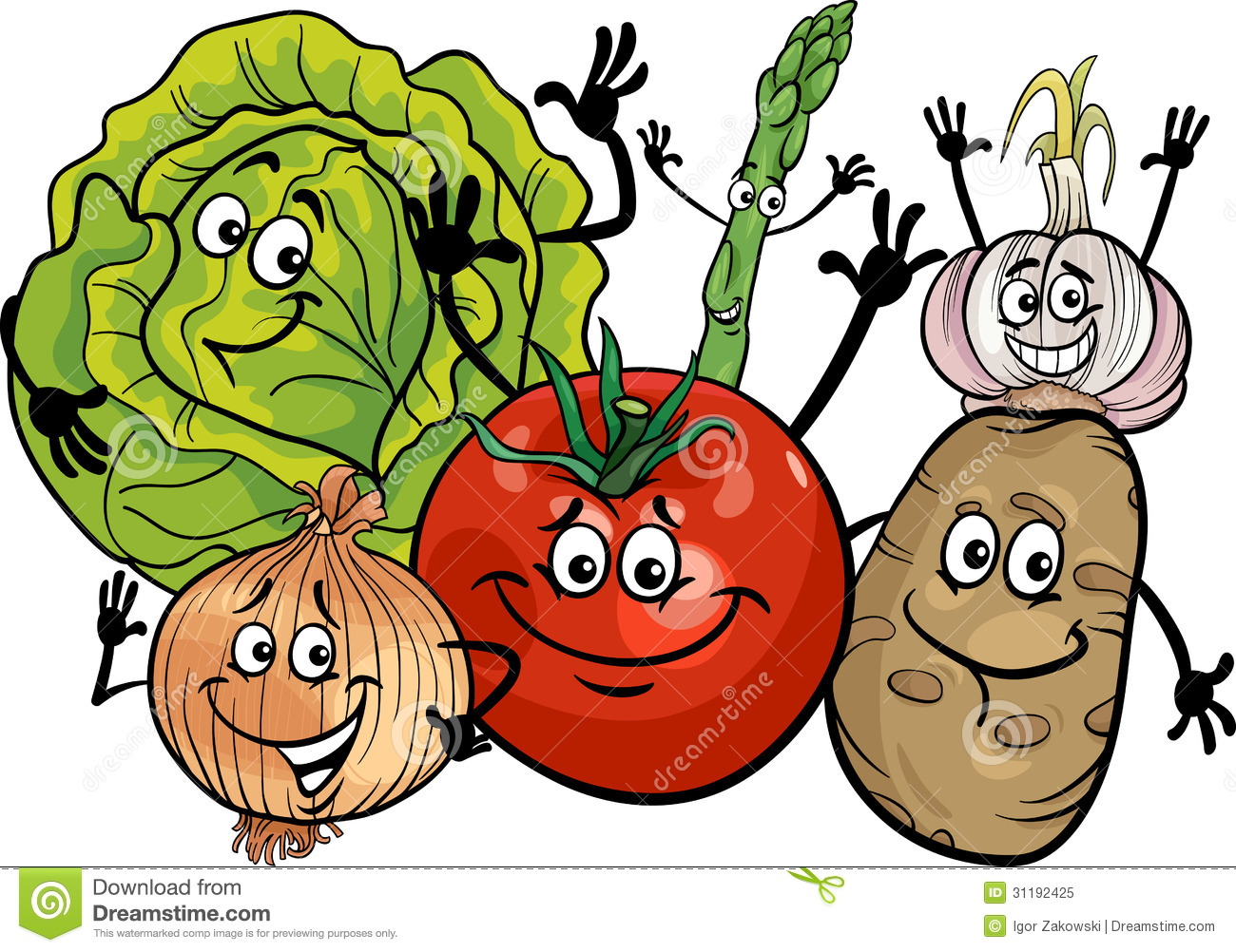Vegetables Group Cartoon Illustration Royalty Free Stock Photo - Image ...