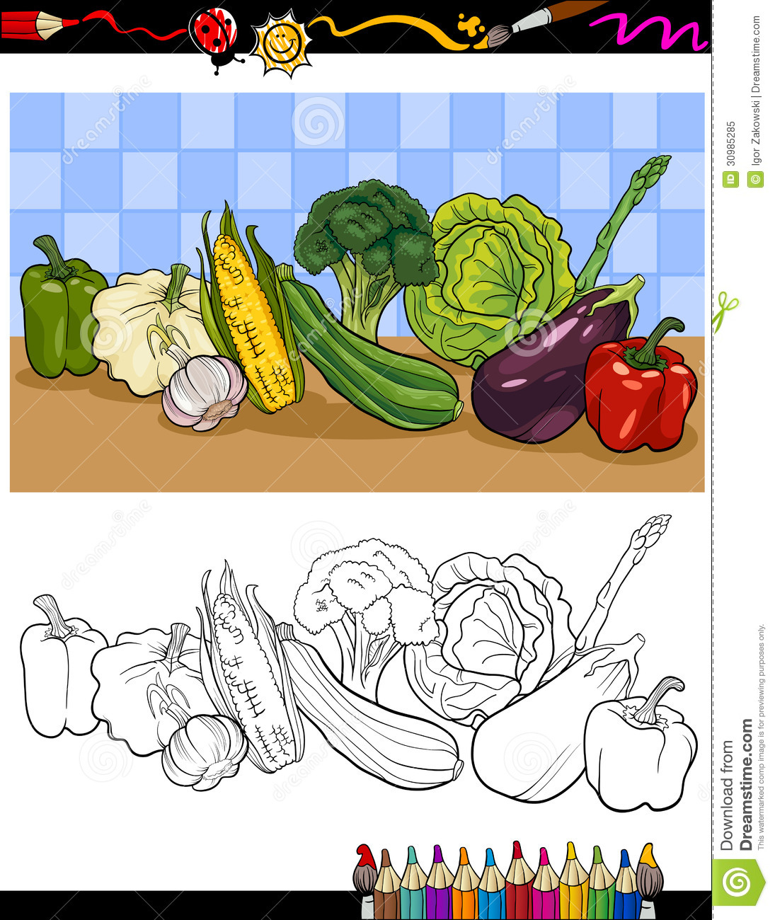 Vegetables Group Illustration For Coloring Stock Vector ...