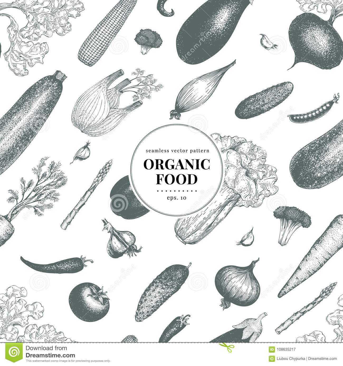 vegetables hand drawn vector seamless pattern banner template