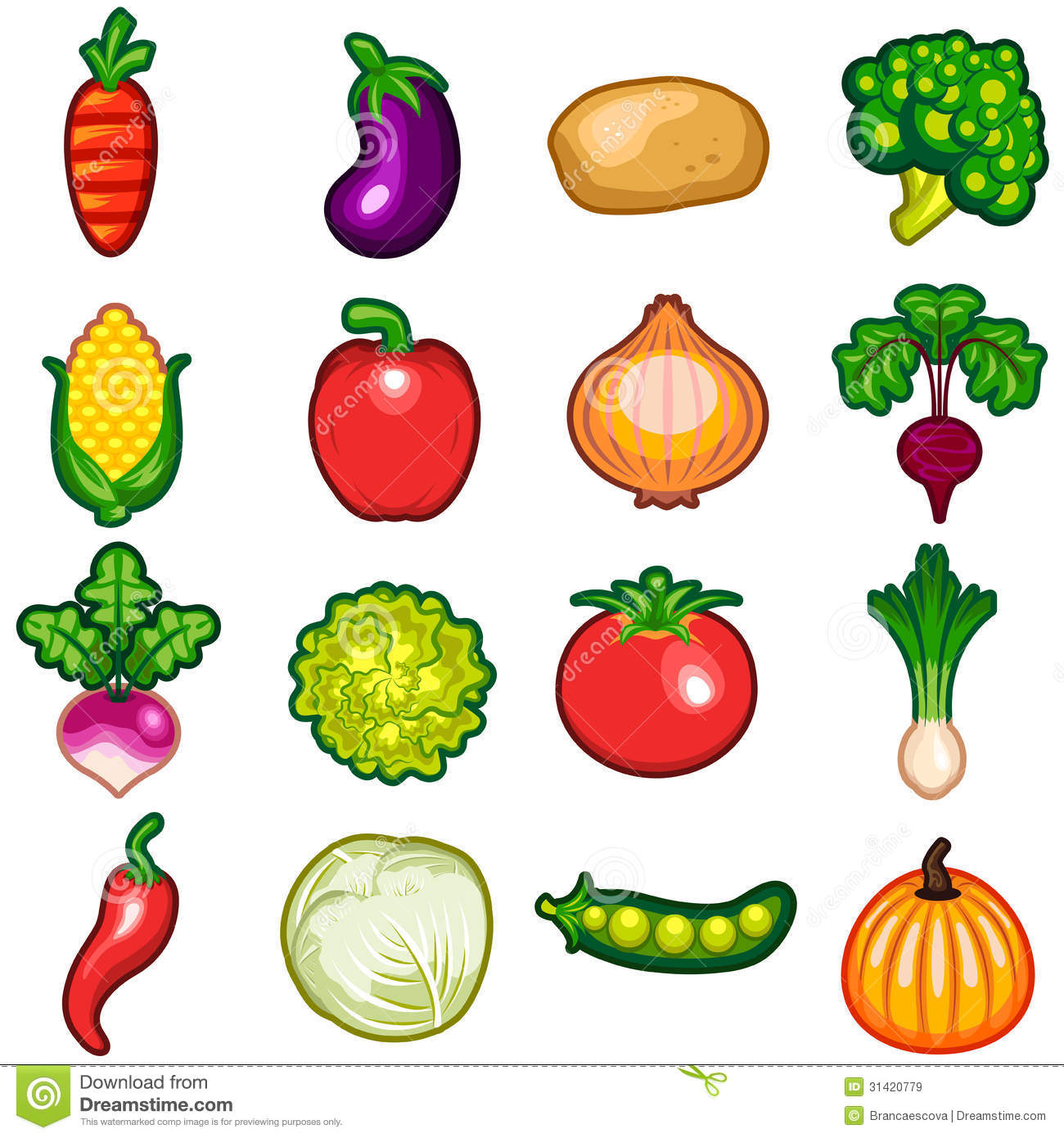 Types Of Veges For Kids Drawing