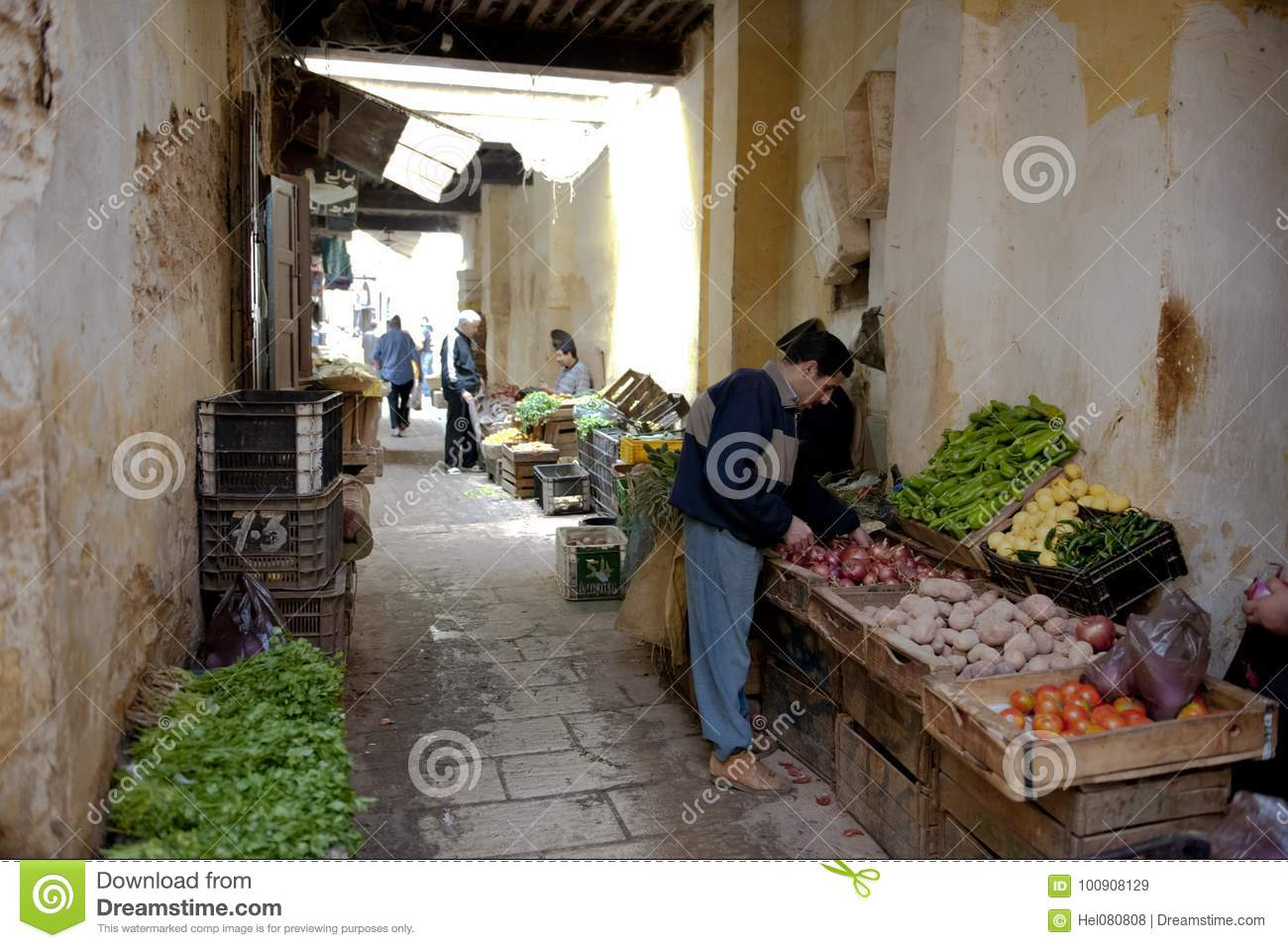 Vegetables Seller In Medina Of Fez, Morocco Editorial Stock