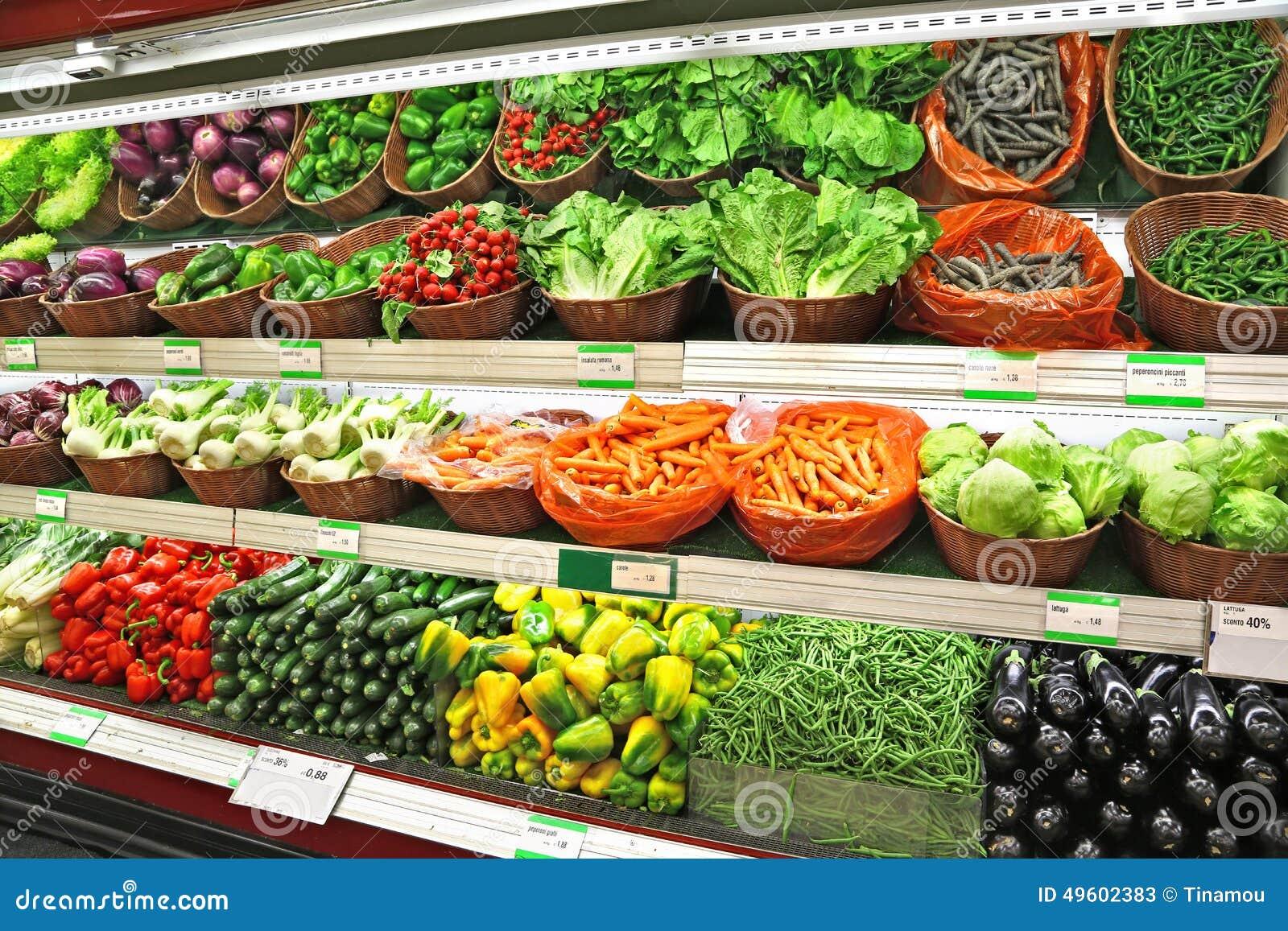 Vegetables on sale in a supermarket stock image image of for Milan food market