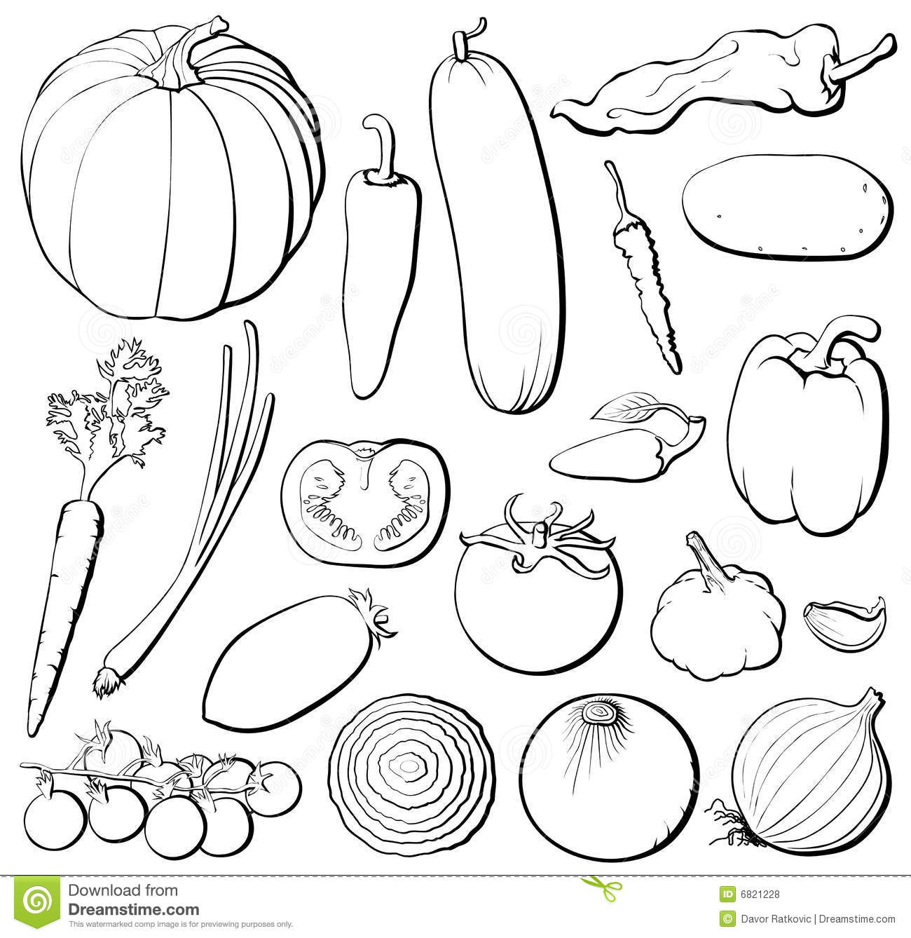 Vegetables Set B&w Royalty Free Stock Photos - Image: 6821228