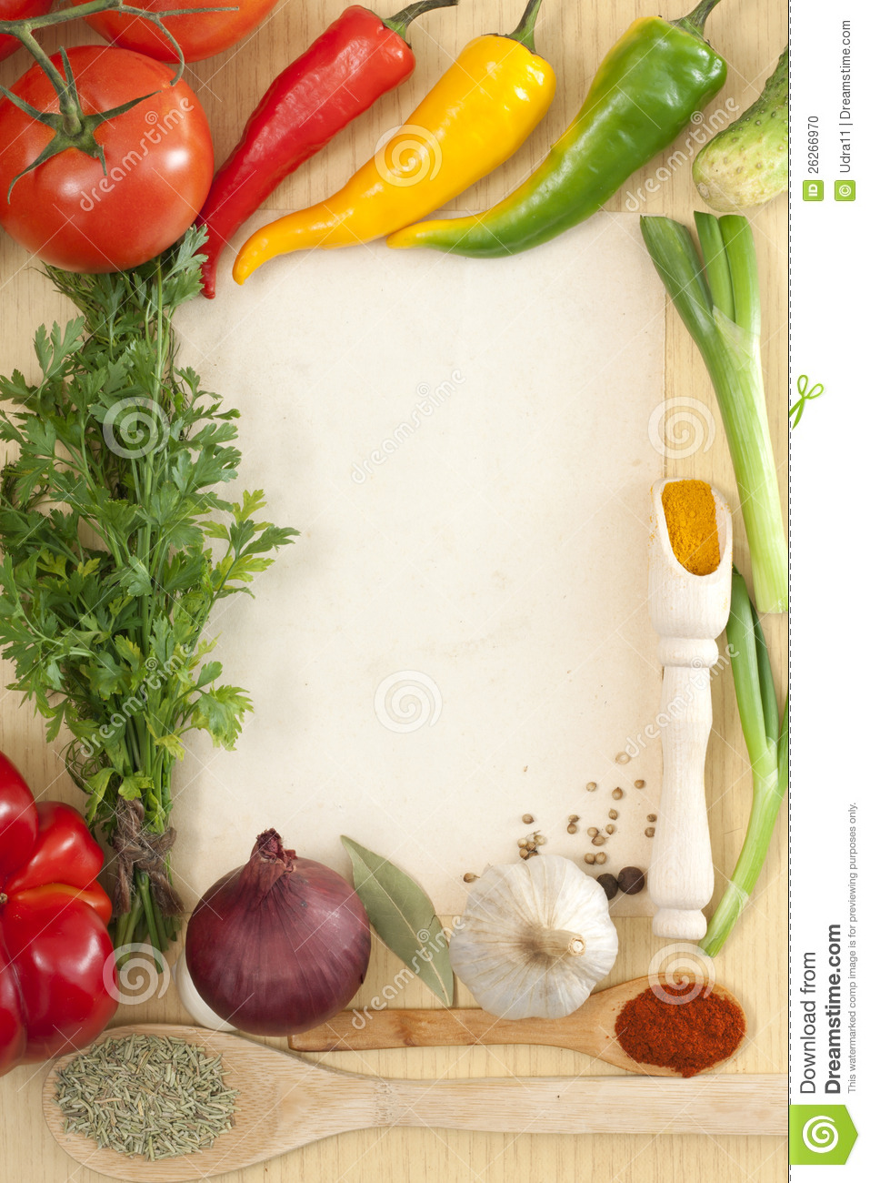 Vegetables And Spices Border Stock Photo - Image: 26266970