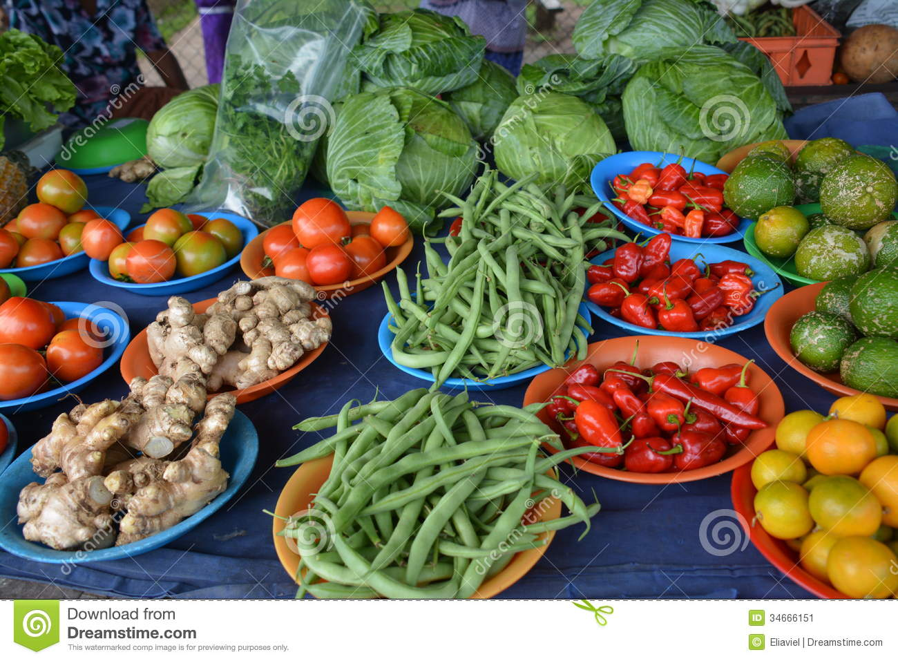 vegetables stall on a market day in Taveuni Island , Fiji.