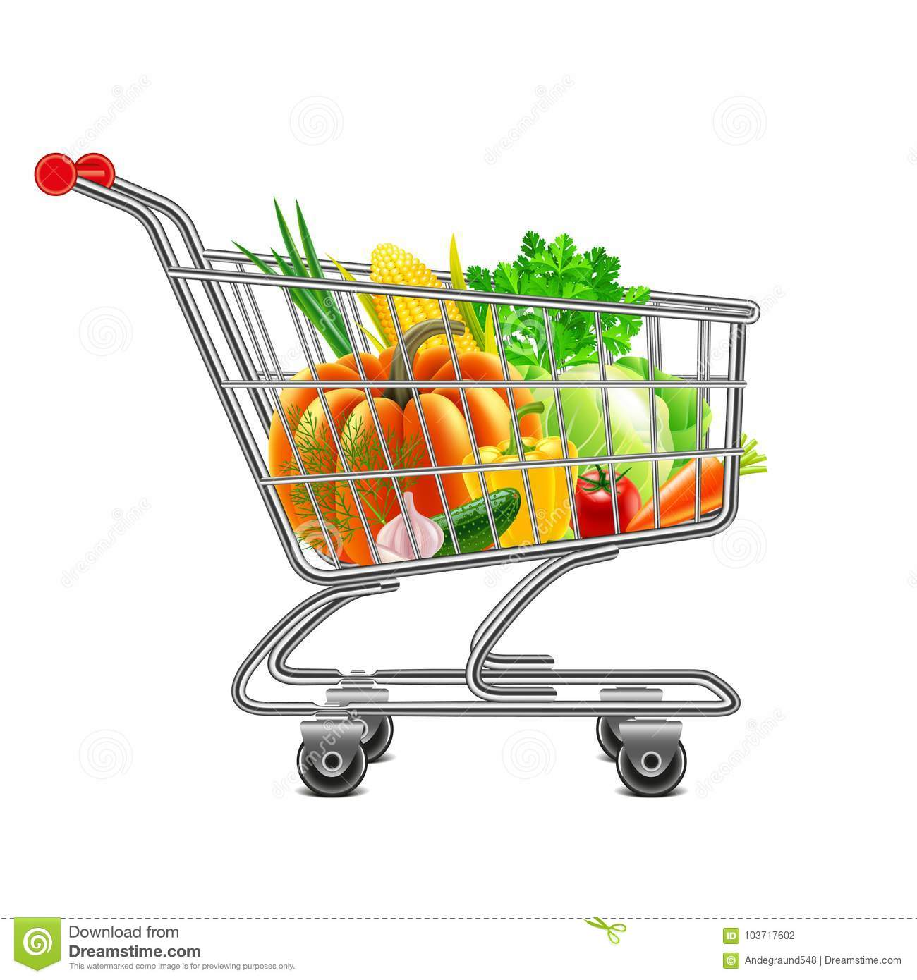 Vegetables in supermarket cart isolated vector