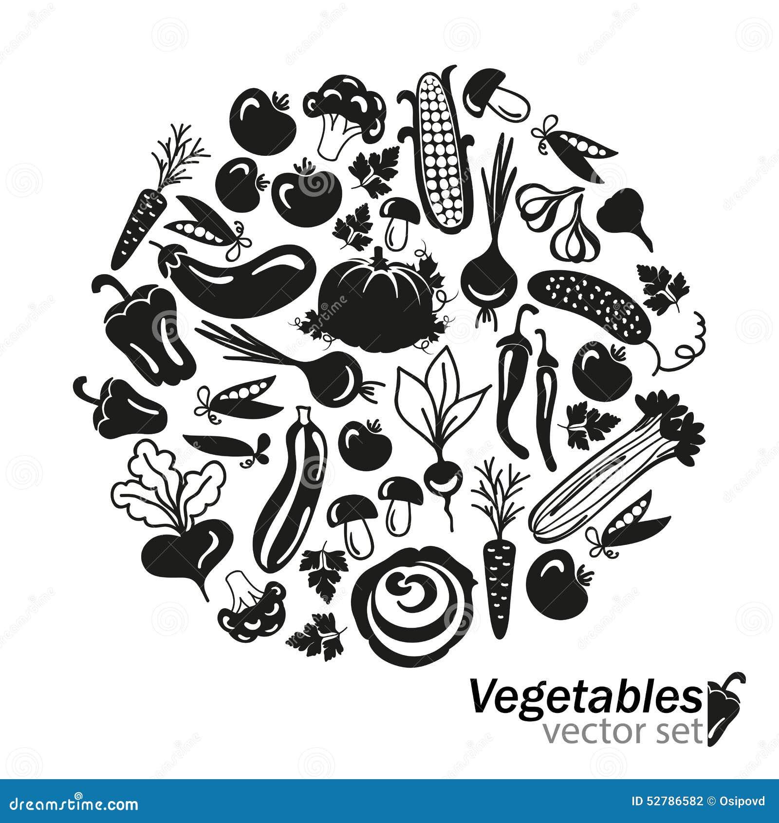 Vegetables Vector Black Icons On White Background Stock