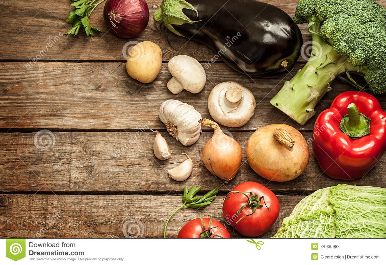 Vegetables On Vintage Wood Background Autumn Harvest
