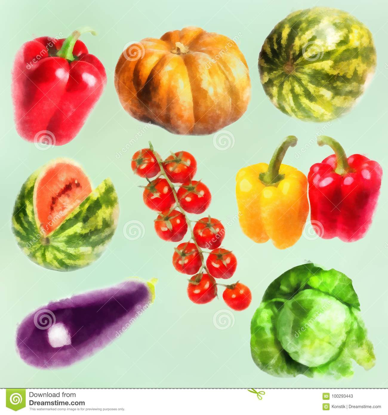 Vegetables watercolor set- pumpkin, sweet pepper, cabbage, watermelon, eggplant, branch of tomatos