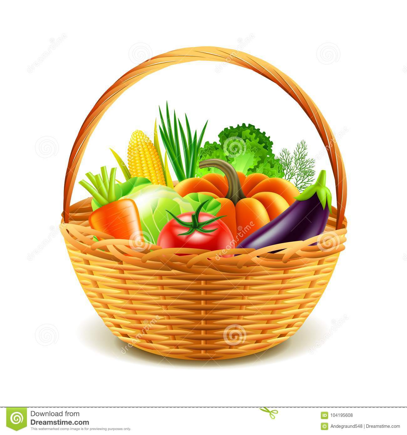 Vegetables in wicker basket isolated vector