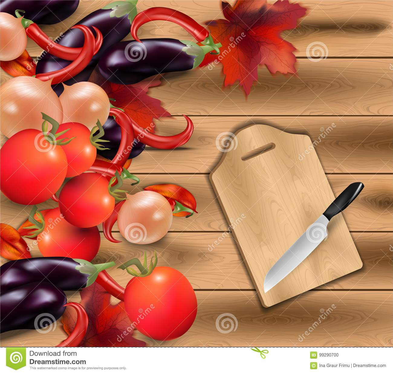 vegetables on wood background realistic kitchen knife vector