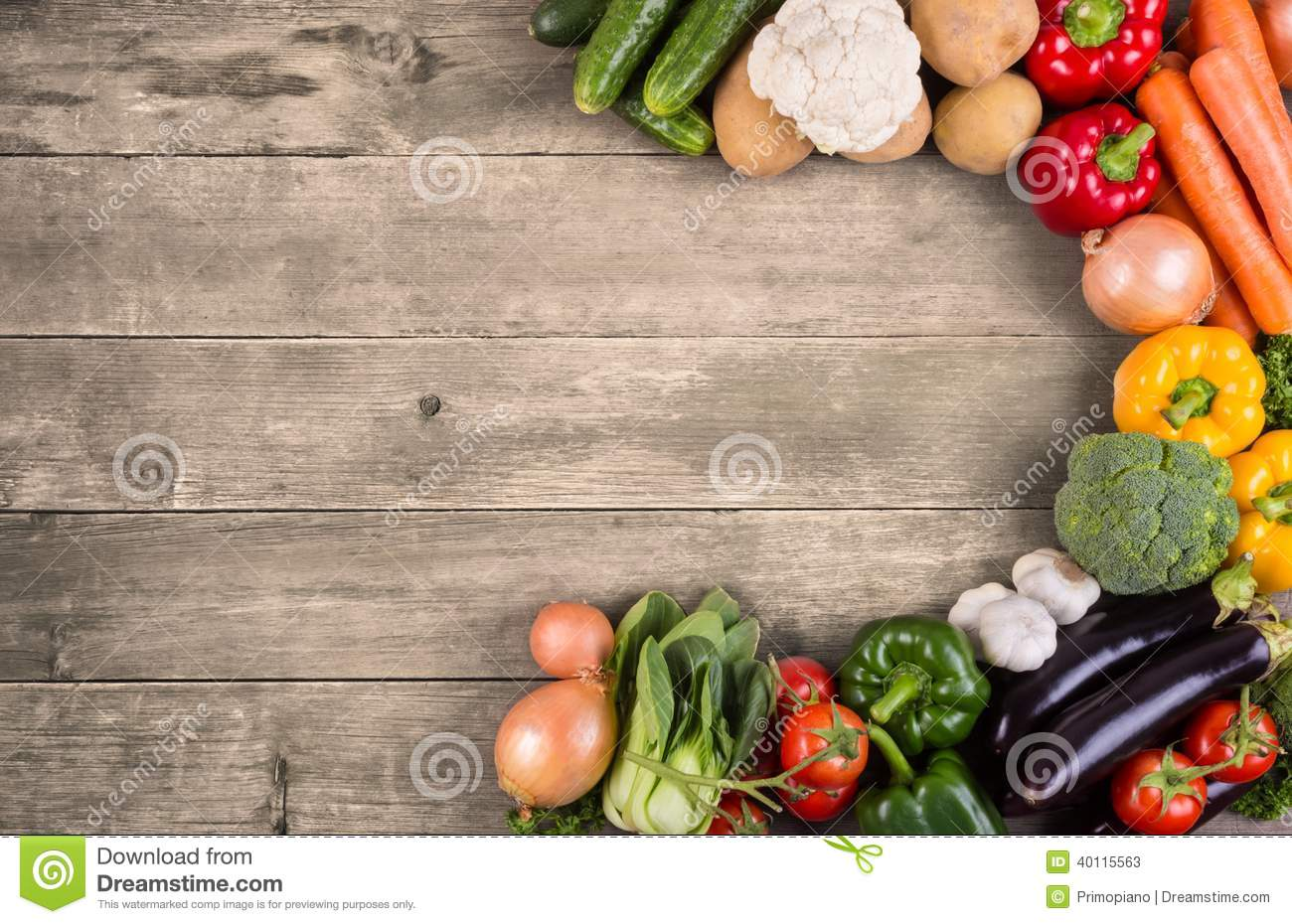 Vegetables On Wood Background With Space For Text. Organic ...