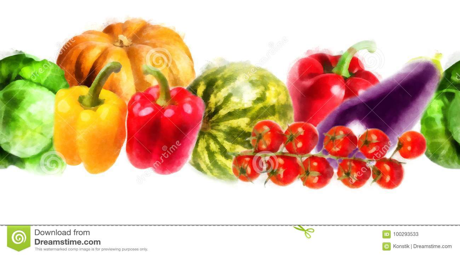 Vegetais - abóbora, pimenta doce, couve, melancia, beringela, ramo dos tomates - teste padrão sem emenda da aquarela