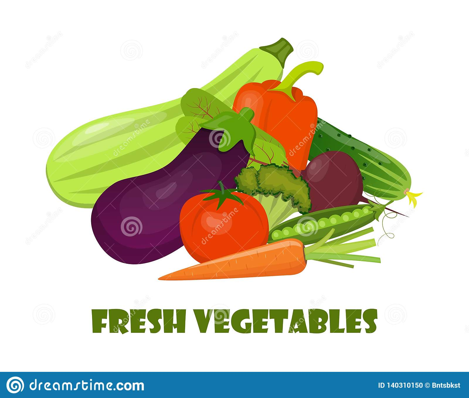 Vegetais orgânicos naturais Composição bonita para o cartão, bandeira, cartaz, inseto, app, Web site em comer saudável, ecológico