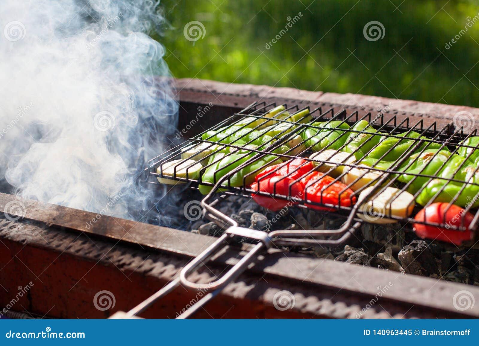 Vegetais roasted na grade no carvão vegetal, fumo do fogo, natureza, fundo da grama verde, pimentas verdes, abobrinha, tomates ve