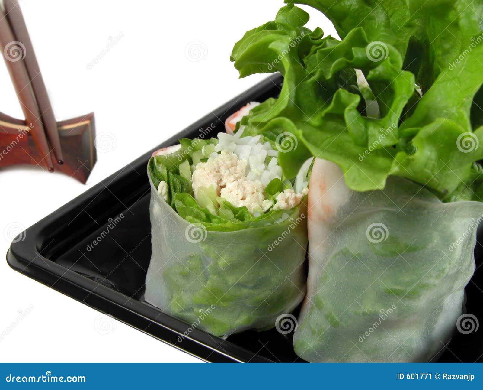 Vegetais rolo e chopsticks