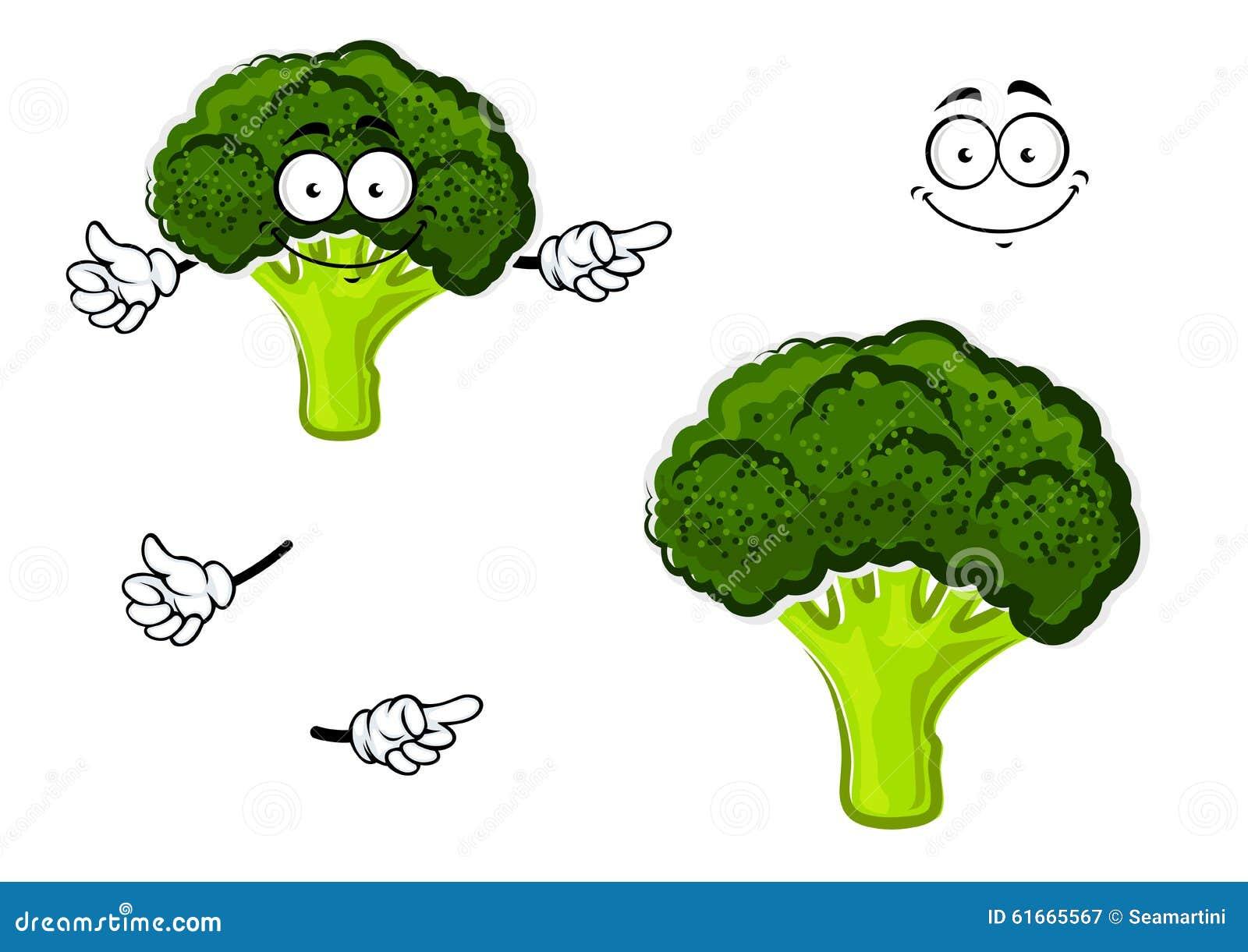 vegetal dos brócolis dos desenhos animados com cabeça verde