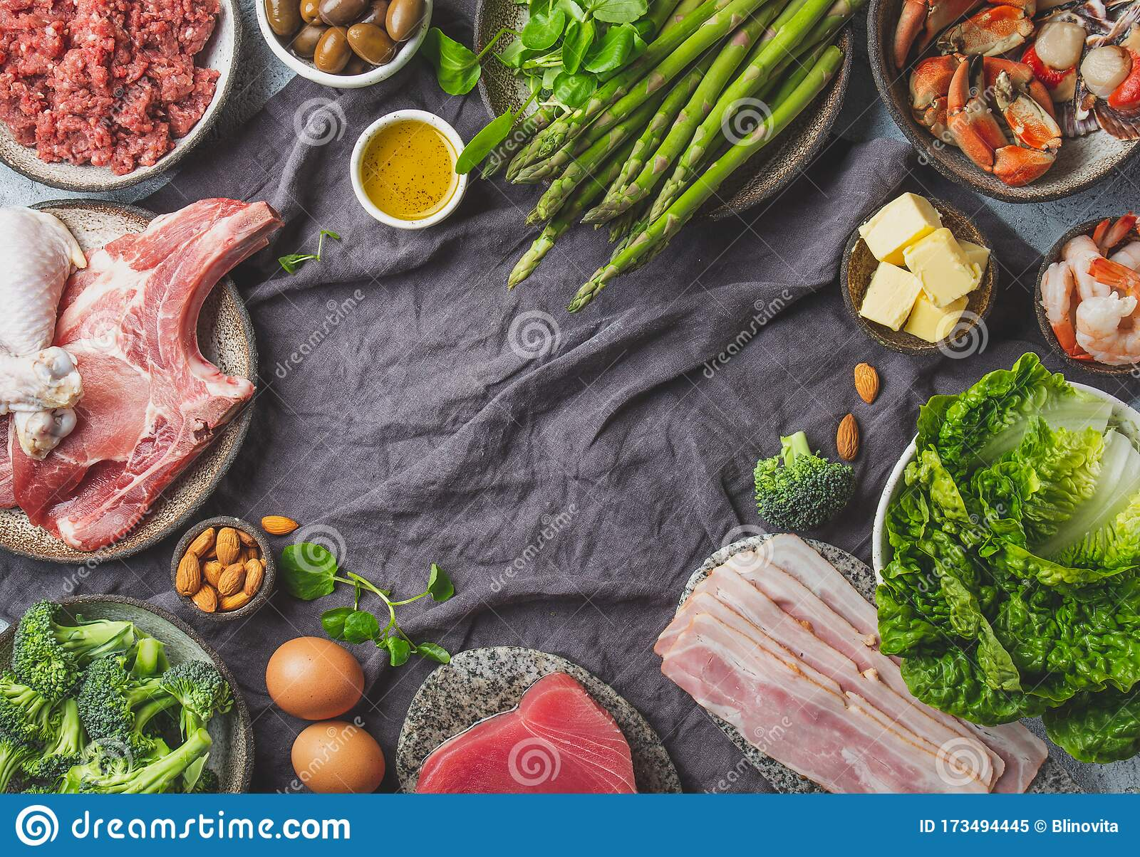 Vegetarian And Animal Protein Carb And Fat Sources Low Carbs And Ketogenic Diet Healthy Food Background With Copy Stock Image Image Of Coconut Background 173494445