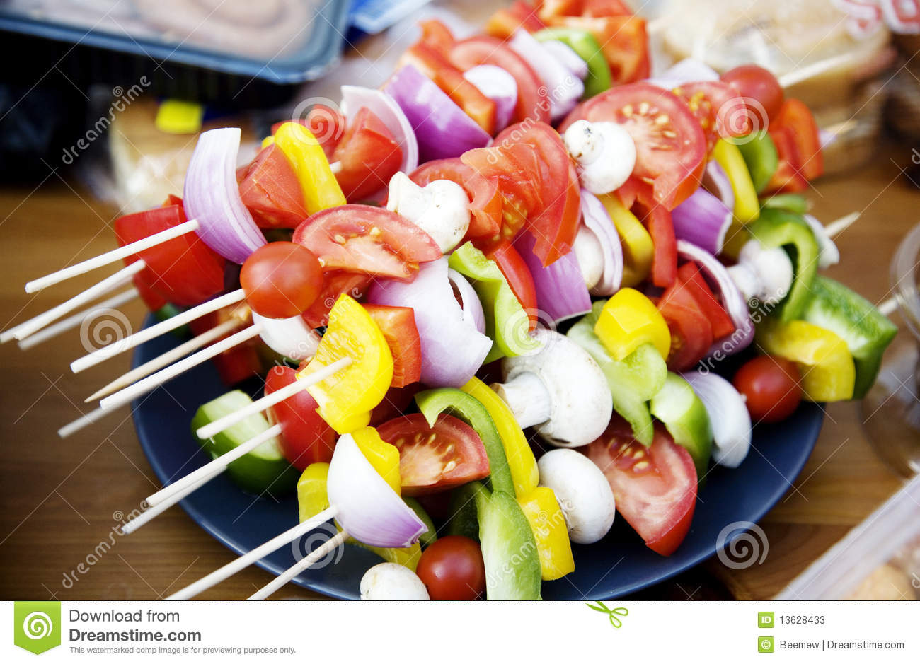 Vegetarian Bbq Skewers Stock Image Image Of Mushrooms