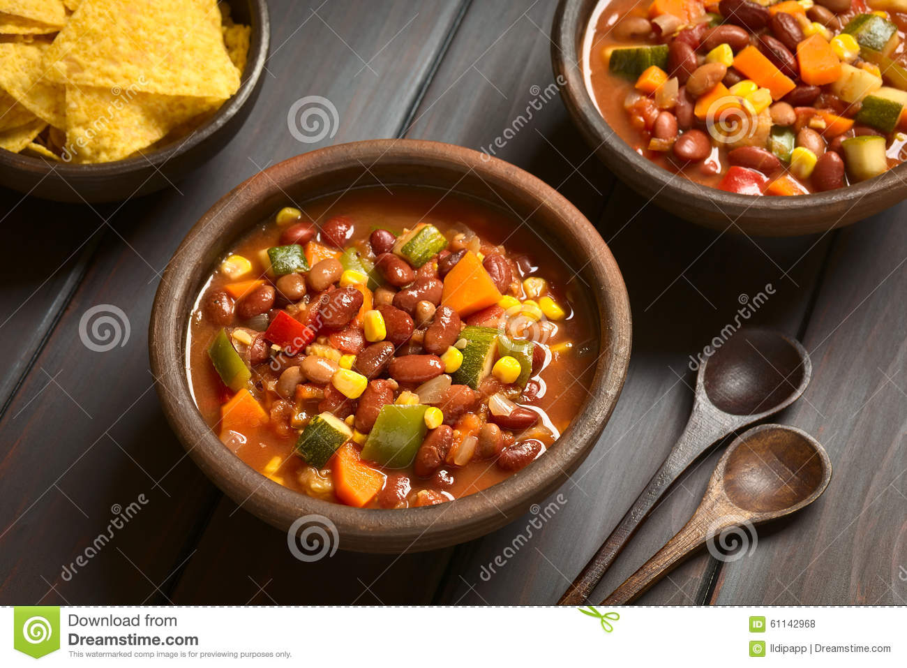 Download Vegetarian Chili Dish stock photo. Image of carne, chip - 61142968