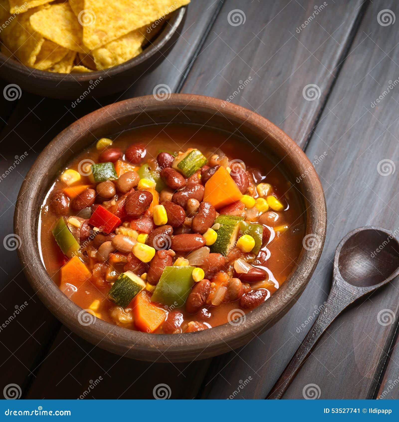 Veggie Chili Beans And Rice With Chili Garlic Chips Recipe ...
