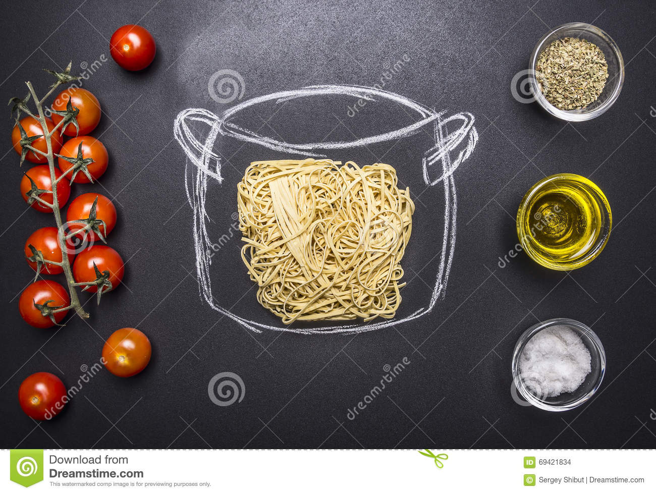 Vegetarian cooking pasta, painted pot, cherry tomatoes, Oil and seasonings wooden rustic background top view