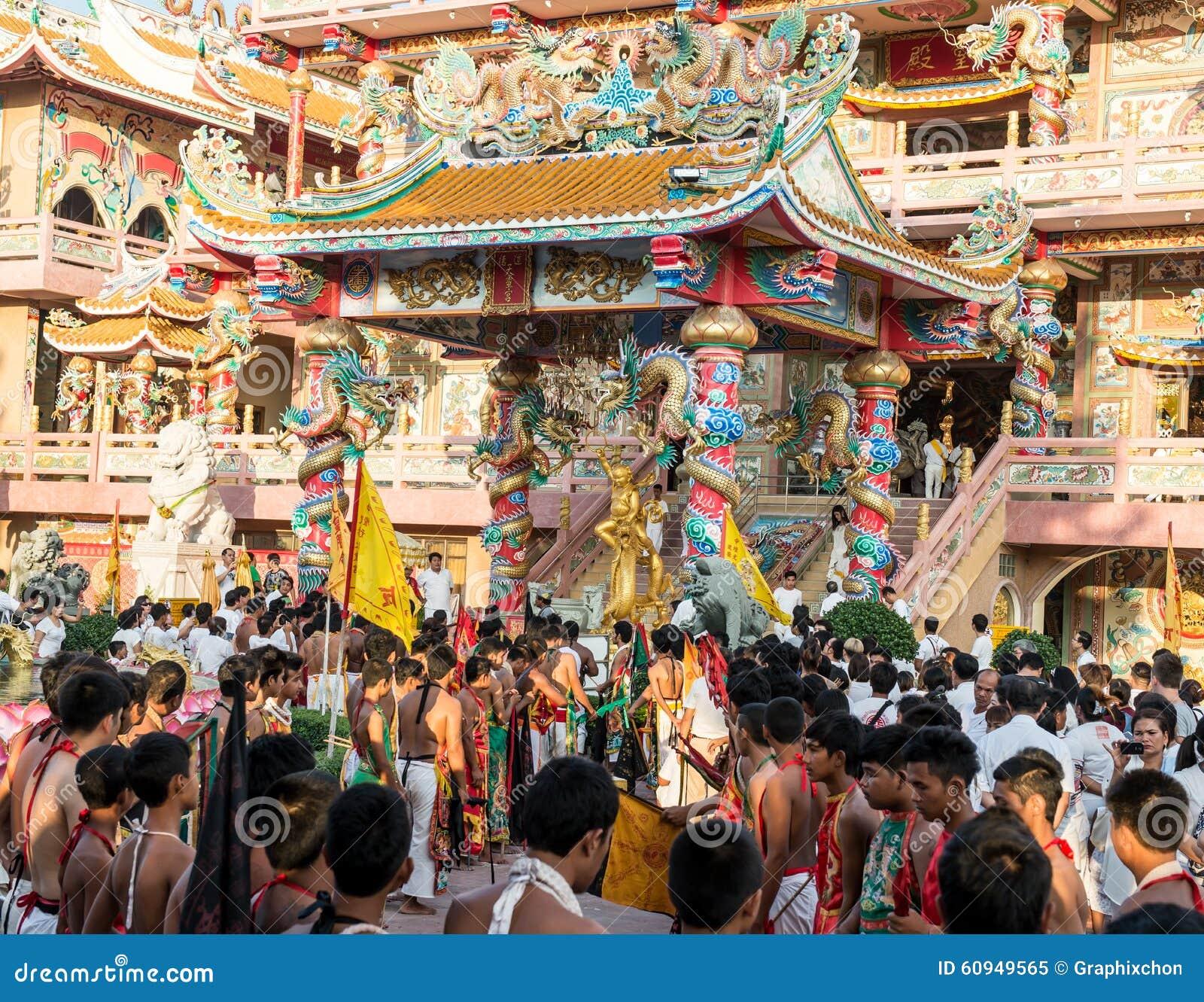 Chonburi Thailand  City new picture : CHONBURI, THAILAND OCT 17, 2015 : A Taoist devotee participates in ...