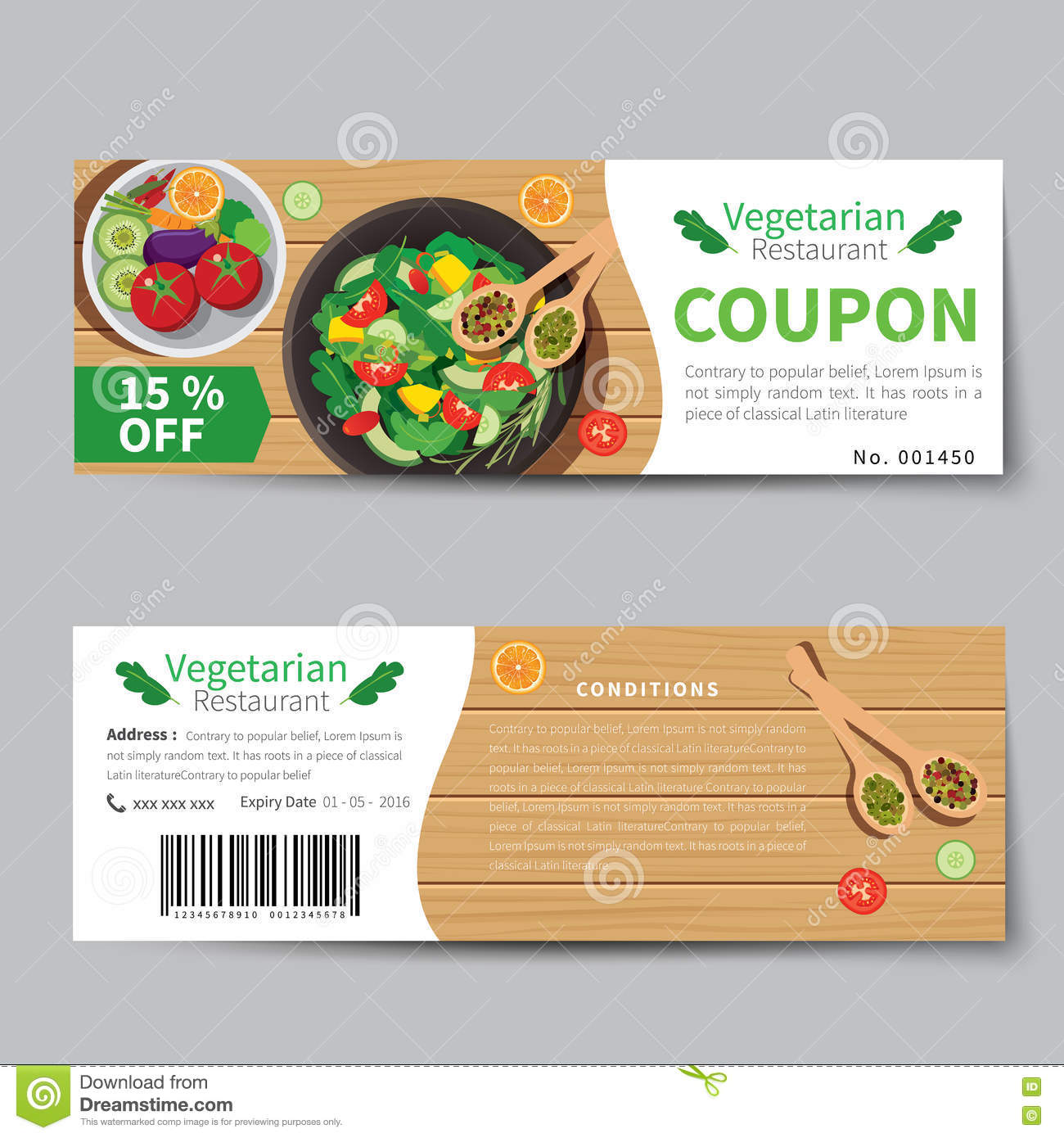 Vegetarian food coupon discount template flat design stock for Free meal coupon template